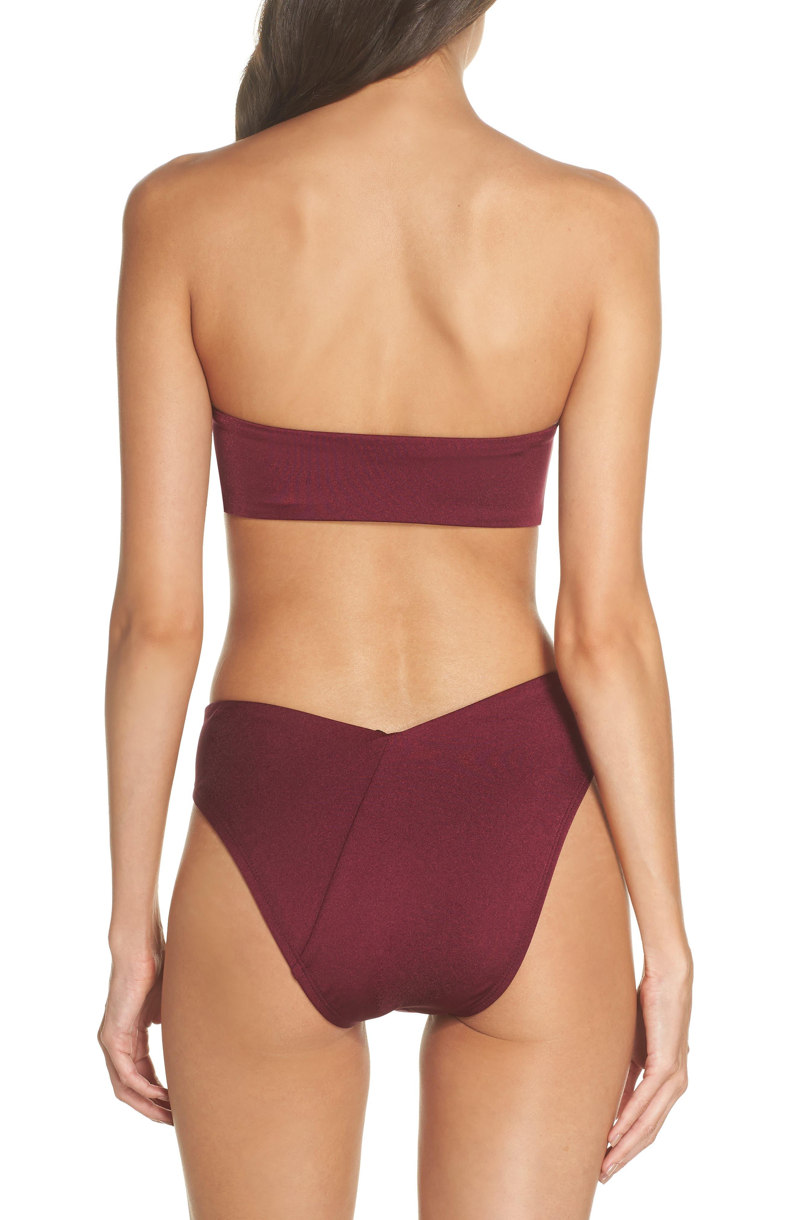 Riviera High Waist Bikini Bottoms,                             Alternate thumbnail 8, color,                             BURGUNDY FIELD