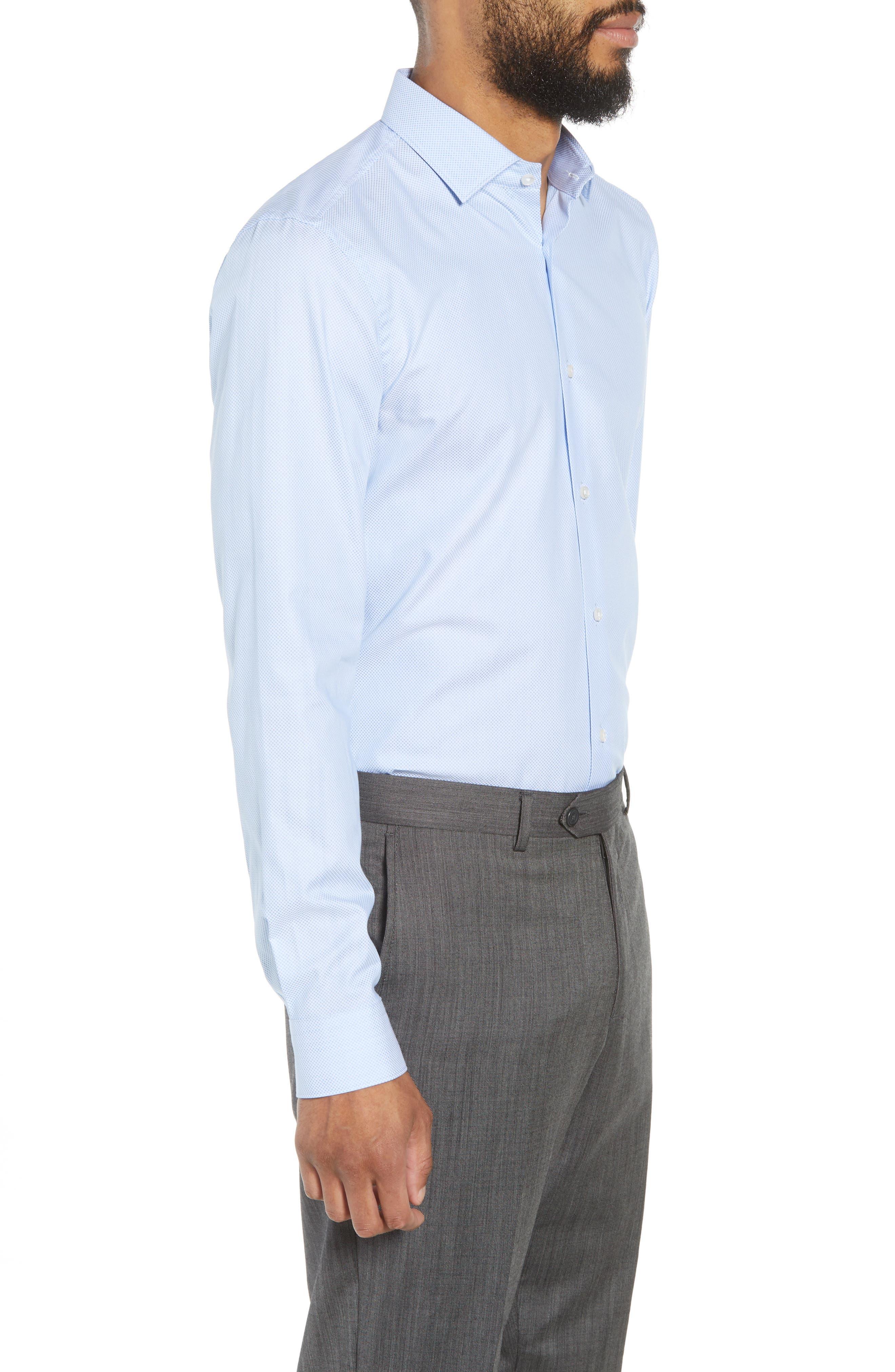 Ismo Slim Fit Dot Dress Shirt,                             Alternate thumbnail 4, color,                             450