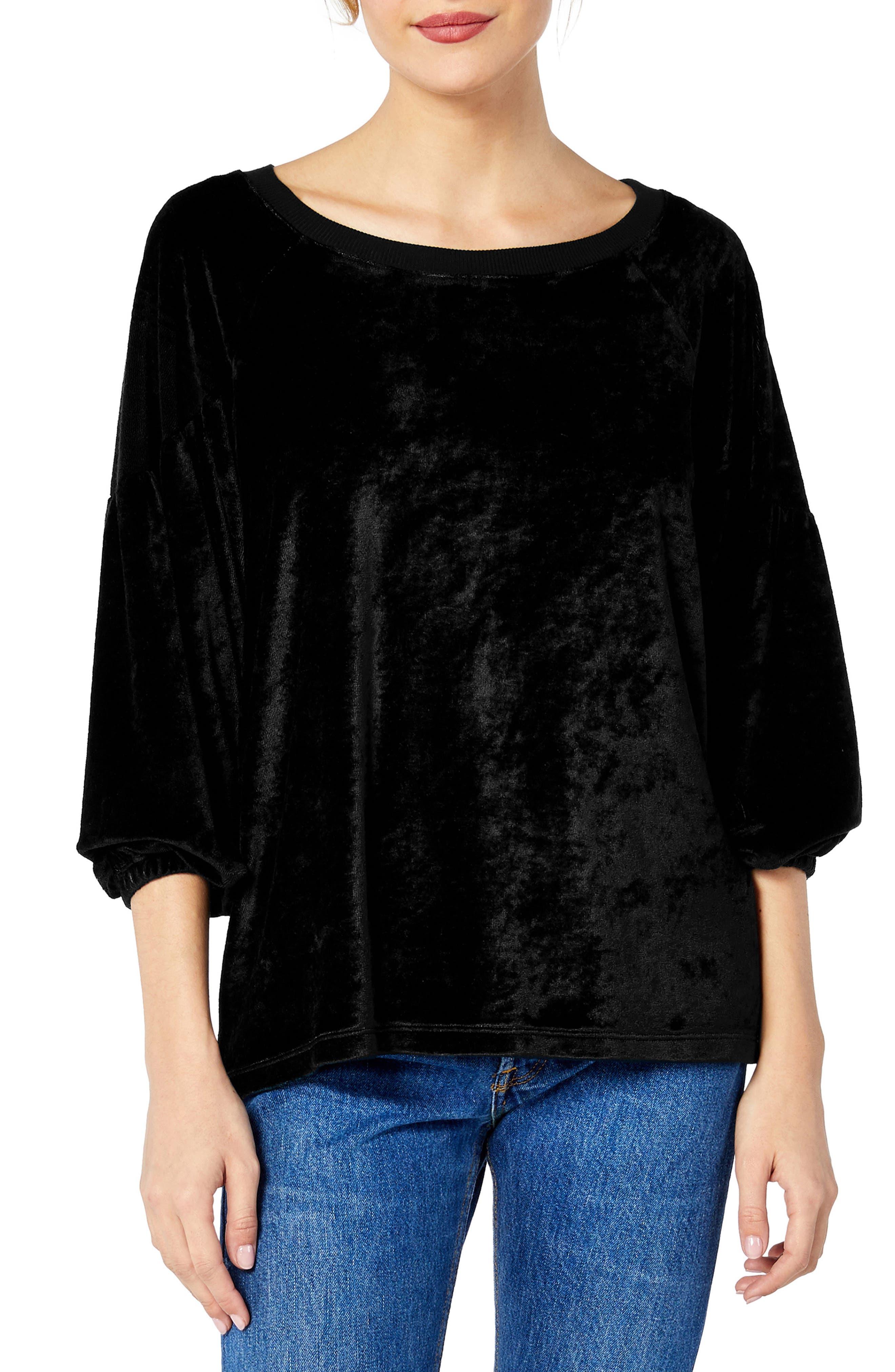 Vali Velvet Balloon Sleeve Convertible Top,                         Main,                         color, BLACK
