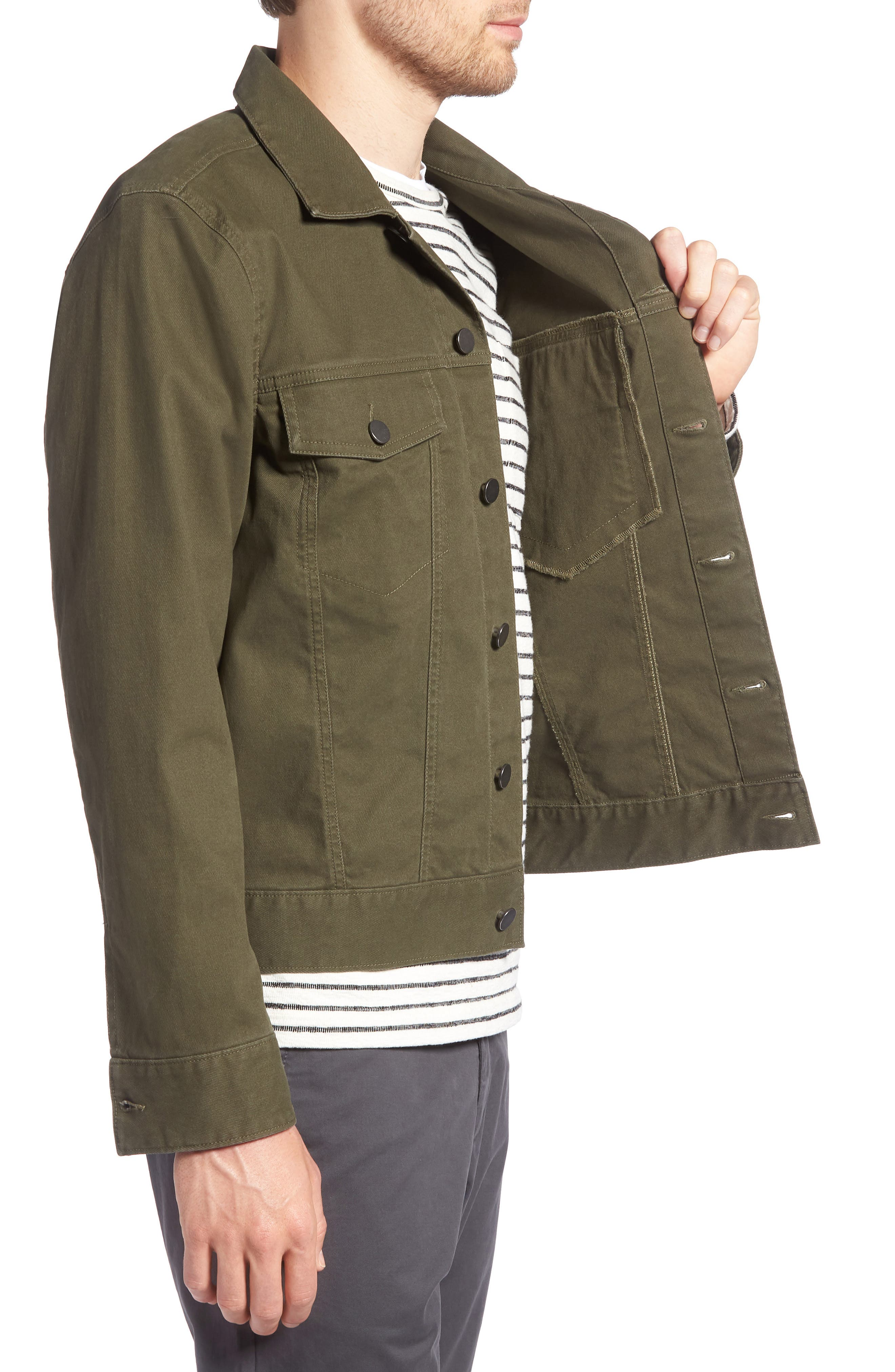 Stretch Cotton Trucker Jacket,                             Alternate thumbnail 3, color,                             GREEN FOREST