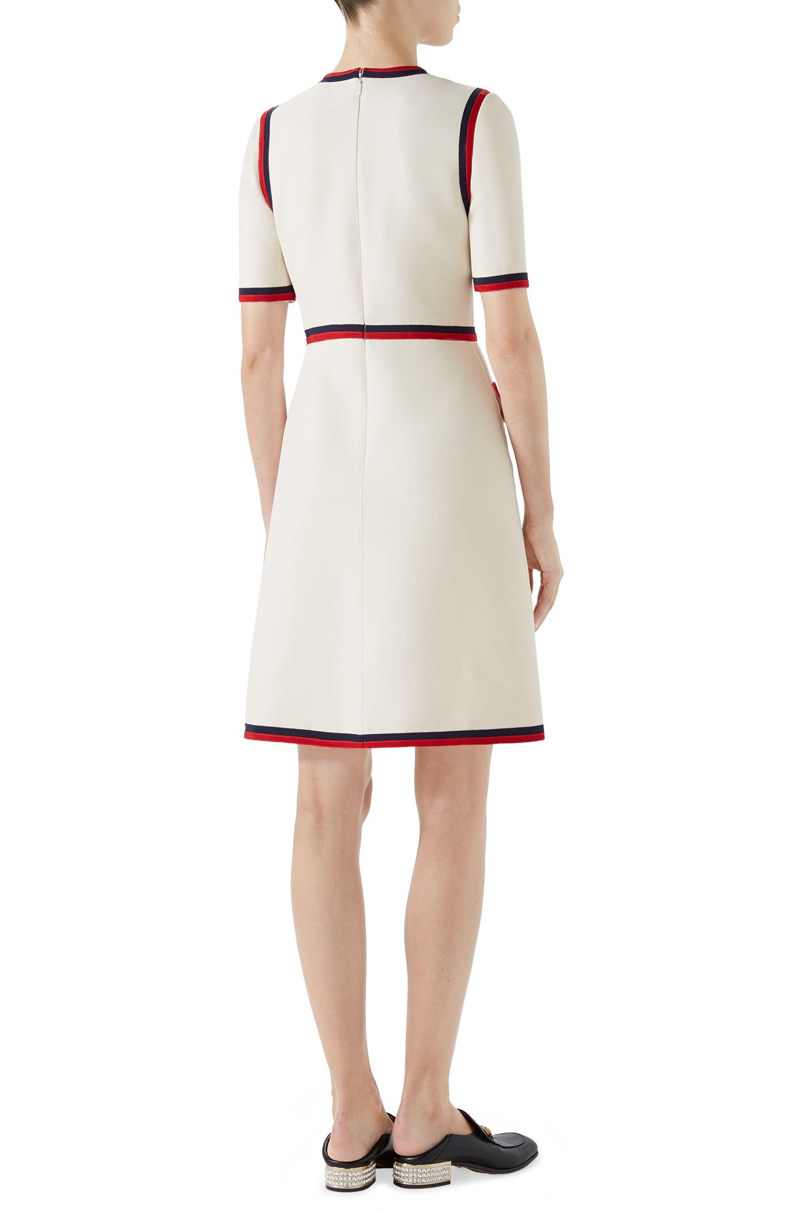 Ribbon Trim Wool & Silk Crepe A-Line Dress,                             Alternate thumbnail 2, color,                             GARDENIA