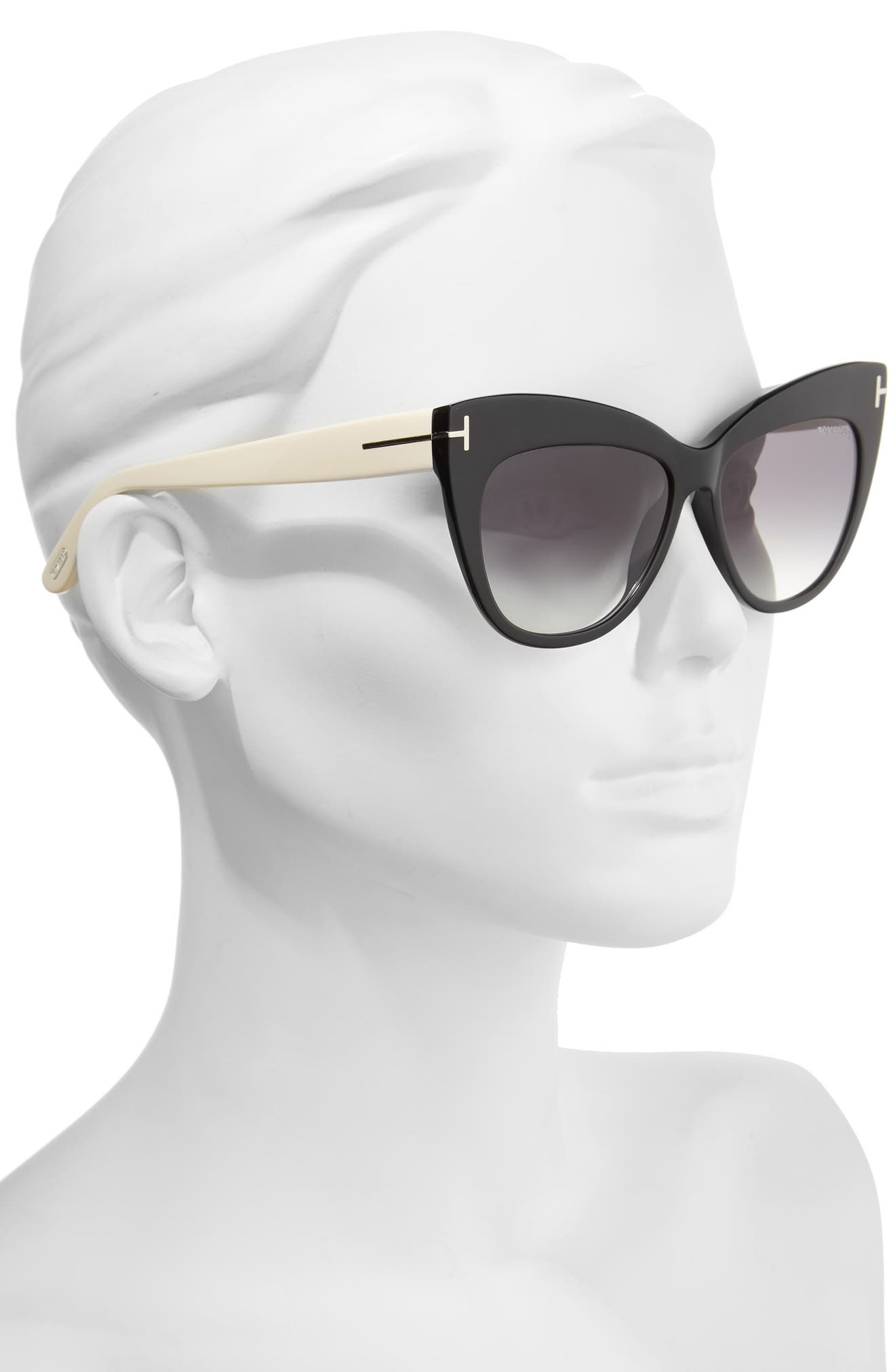Nika 56mm Gradient Cat Eye Sunglasses,                             Alternate thumbnail 2, color,                             001