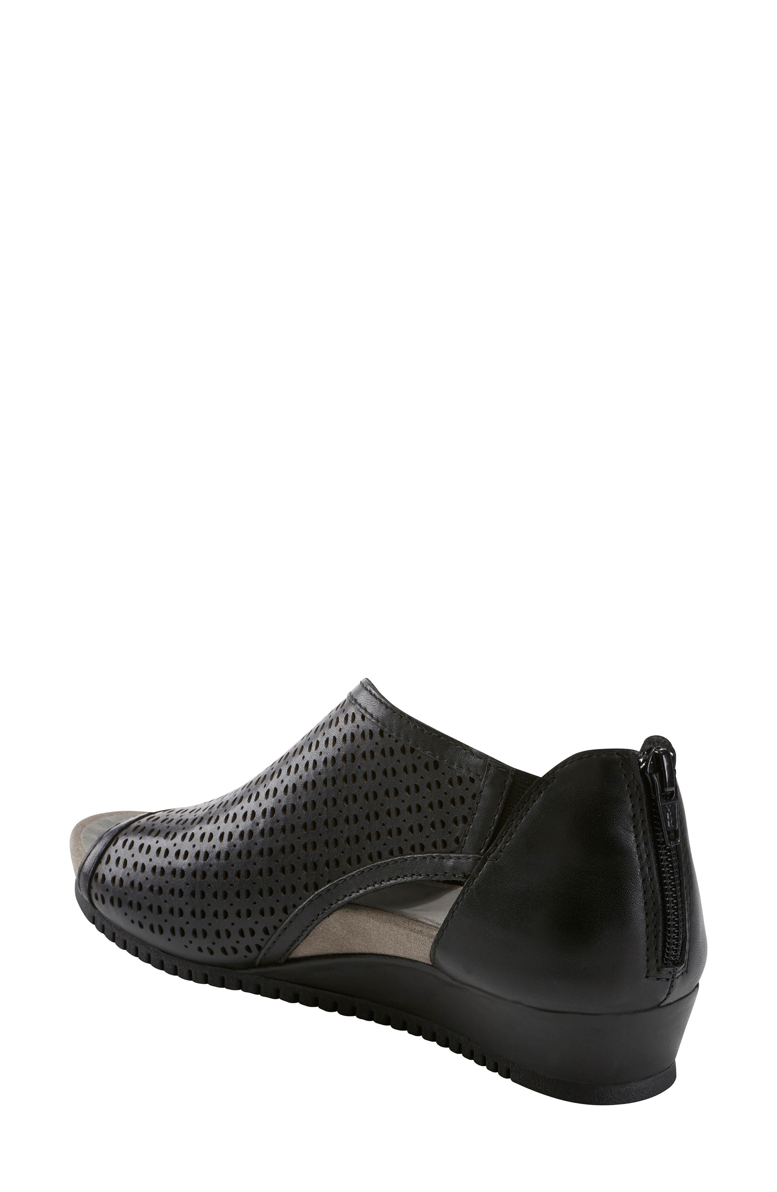 Capricorn Wedge Sandal,                             Alternate thumbnail 2, color,                             BLACK LEATHER