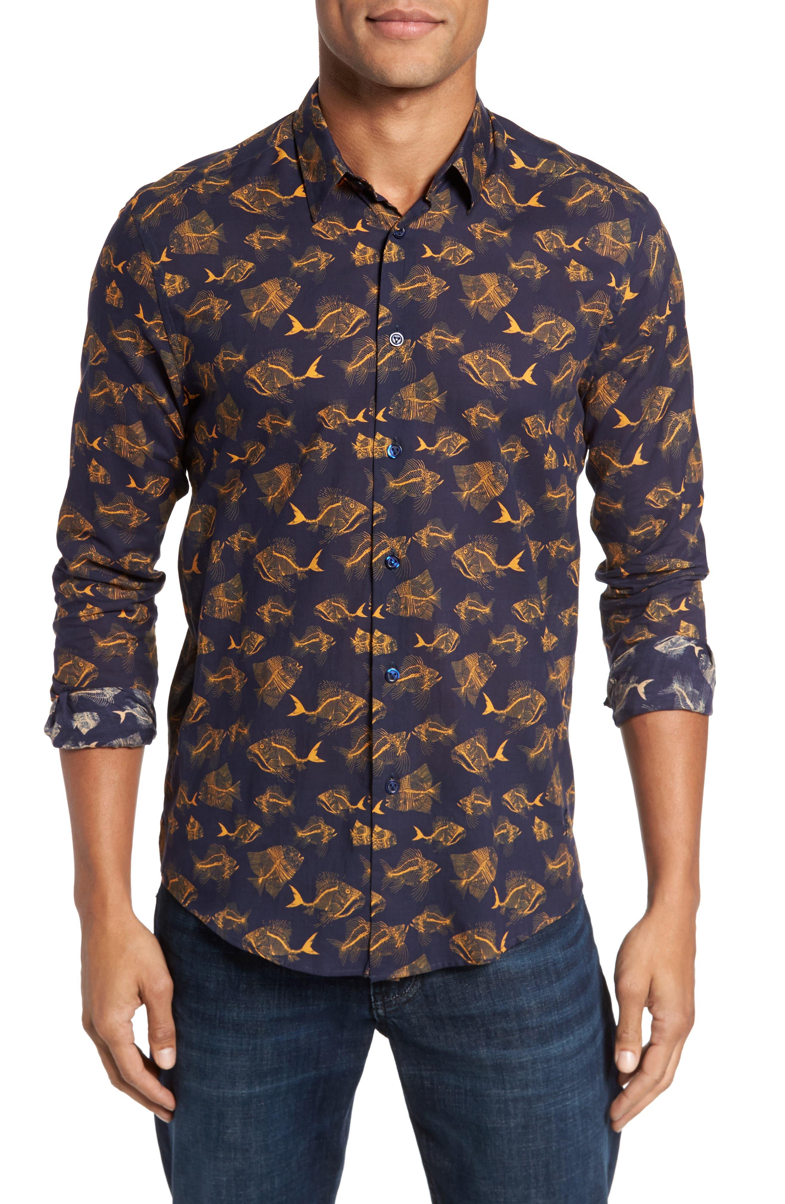 Prehistoric Fish Sport Shirt,                         Main,                         color, NAVY