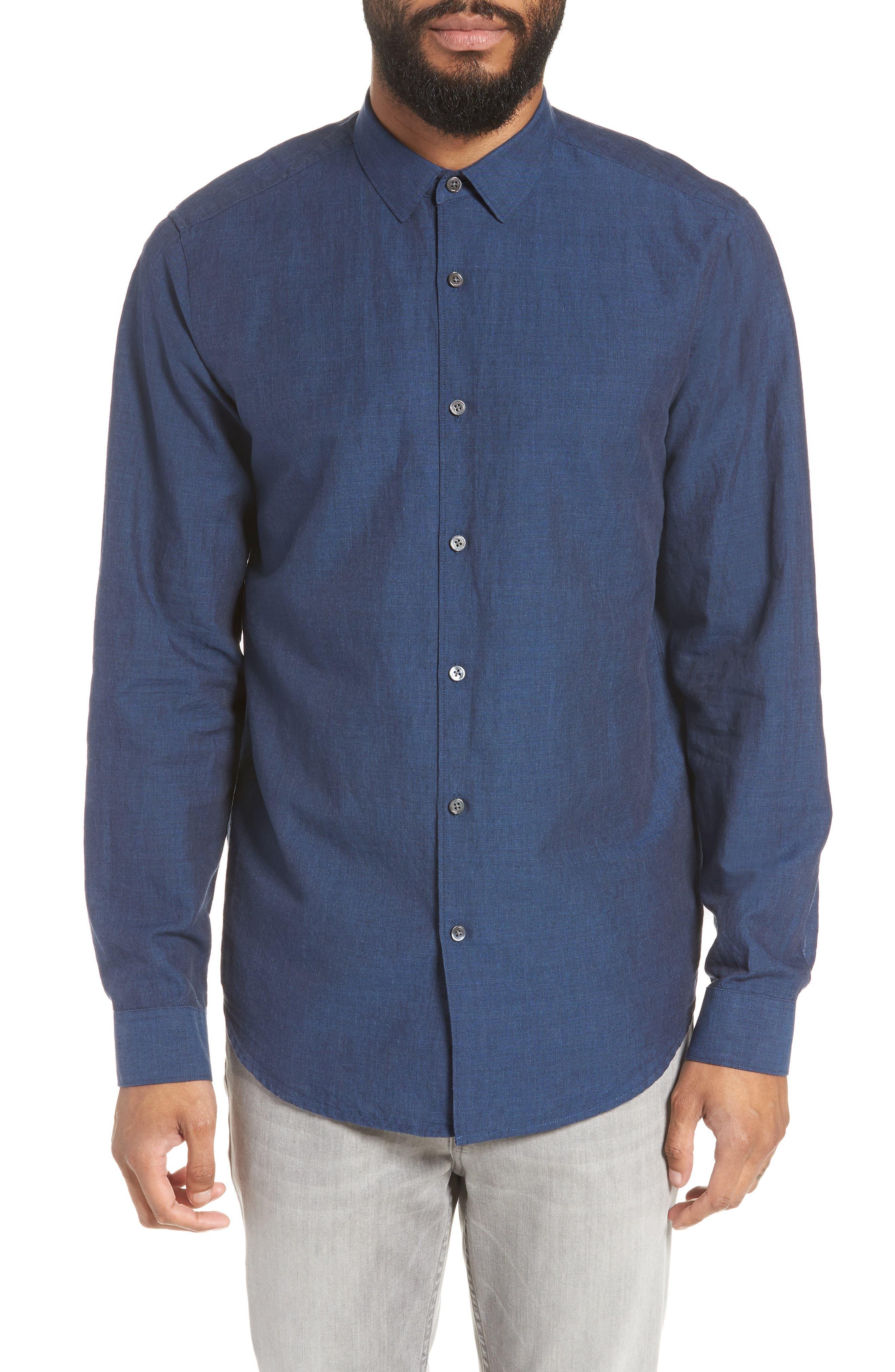 Murrary Indy Regular Fit Solid Cotton & Linen Sport Shirt,                         Main,                         color, FINCH