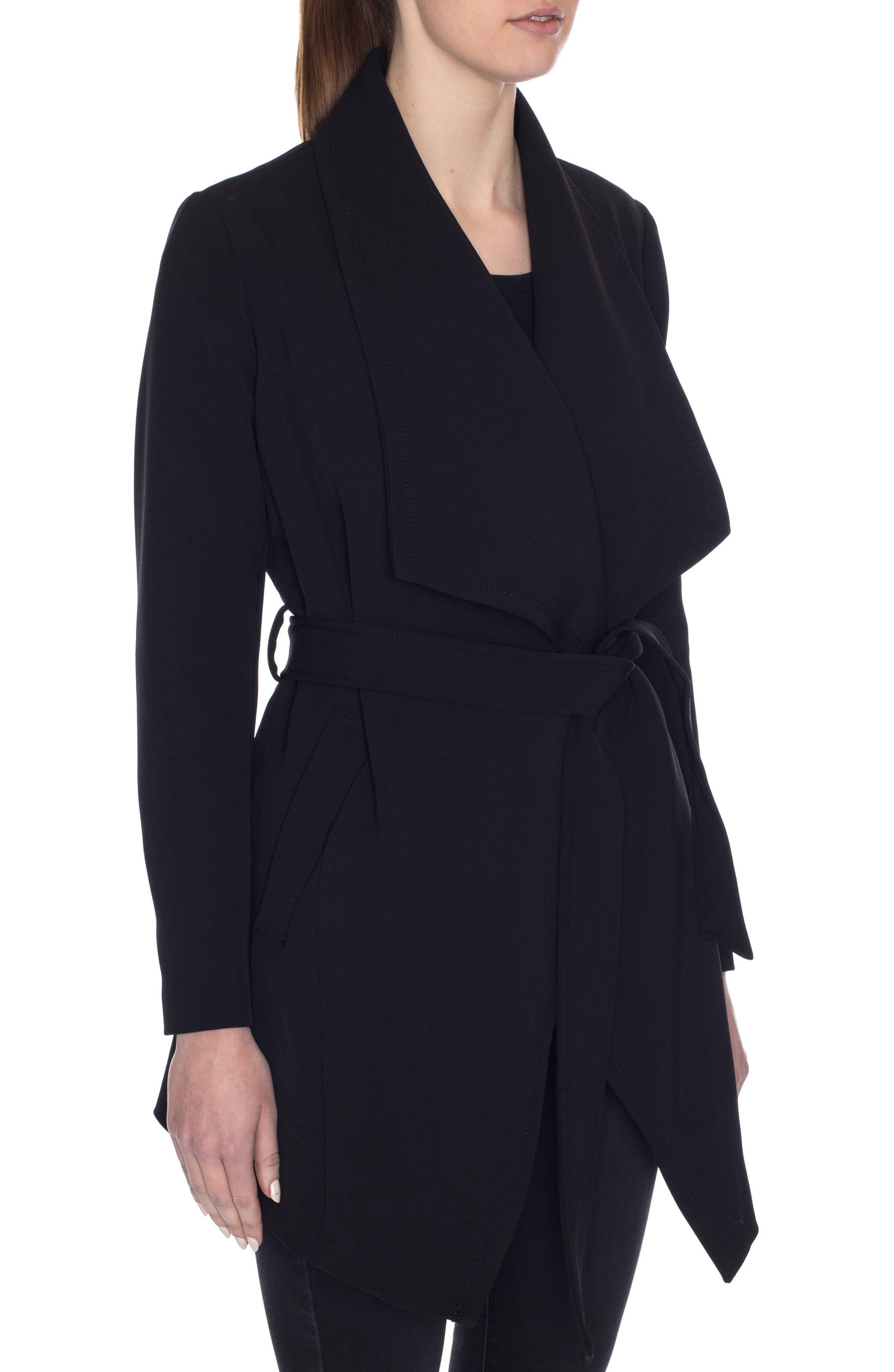 Abbey Draped Collar Wrap Coat,                             Alternate thumbnail 3, color,                             BLACK