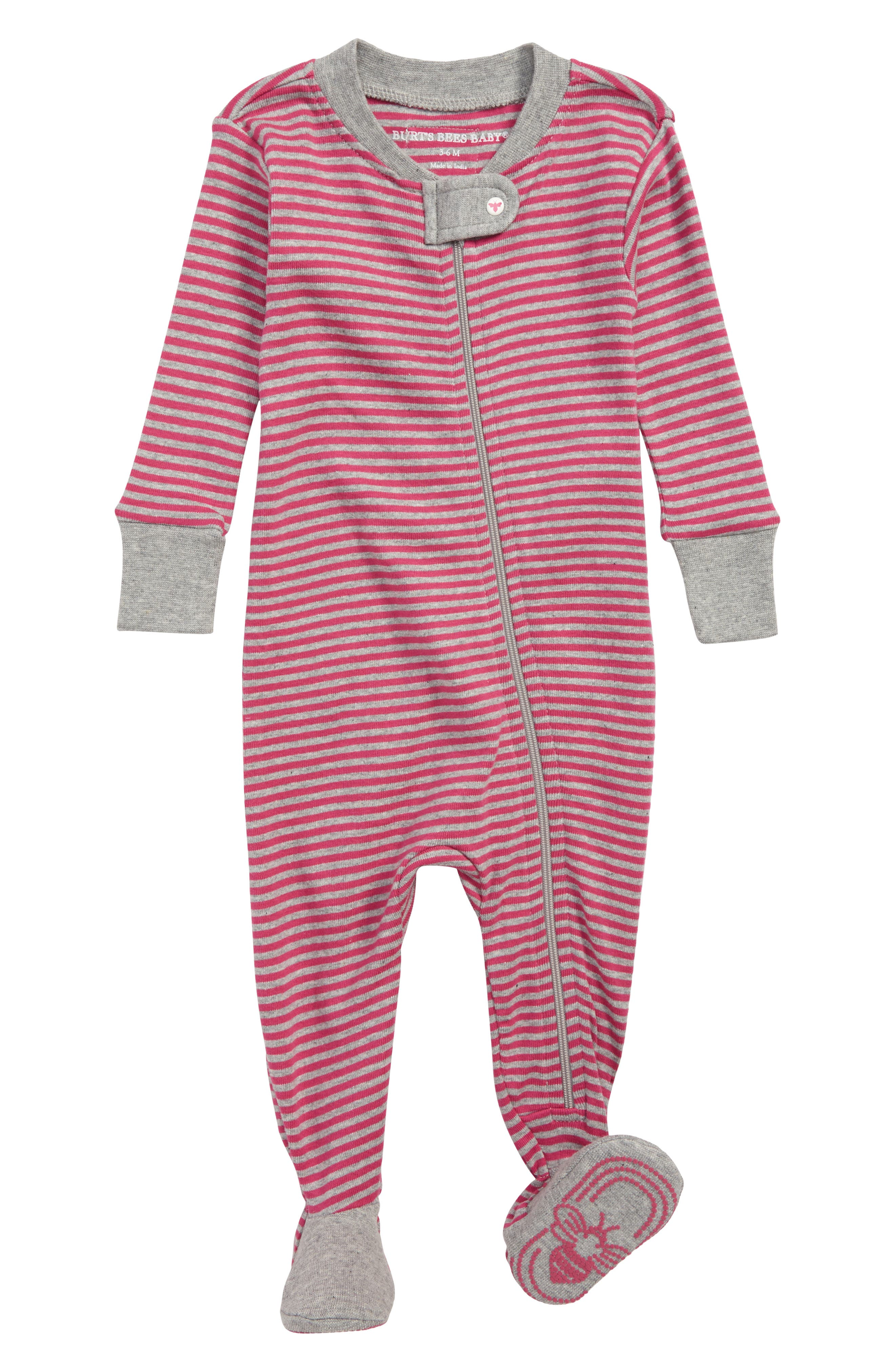 Stripe Fitted Footed One-Piece Pajamas,                         Main,                         color, 665
