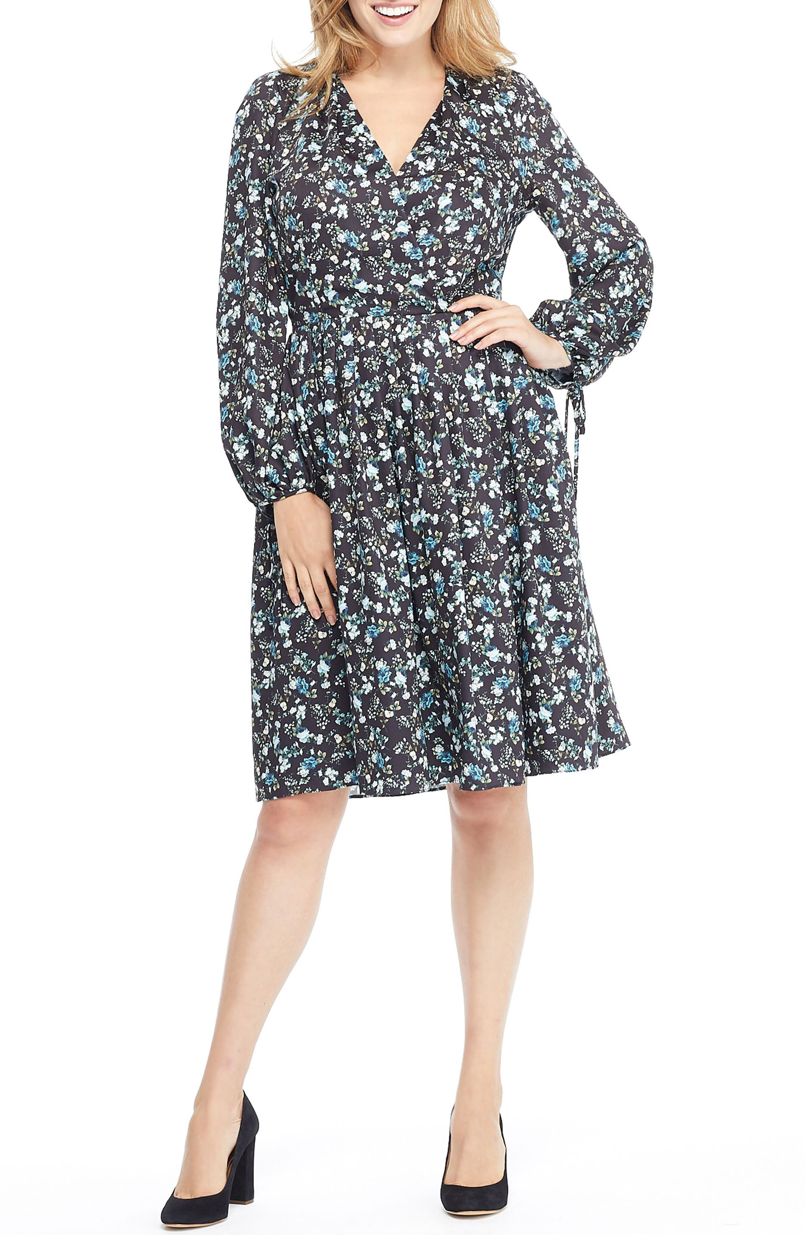 Gal Meets Glam Collection Hope Satinique Tie Cuff Dress, Grey