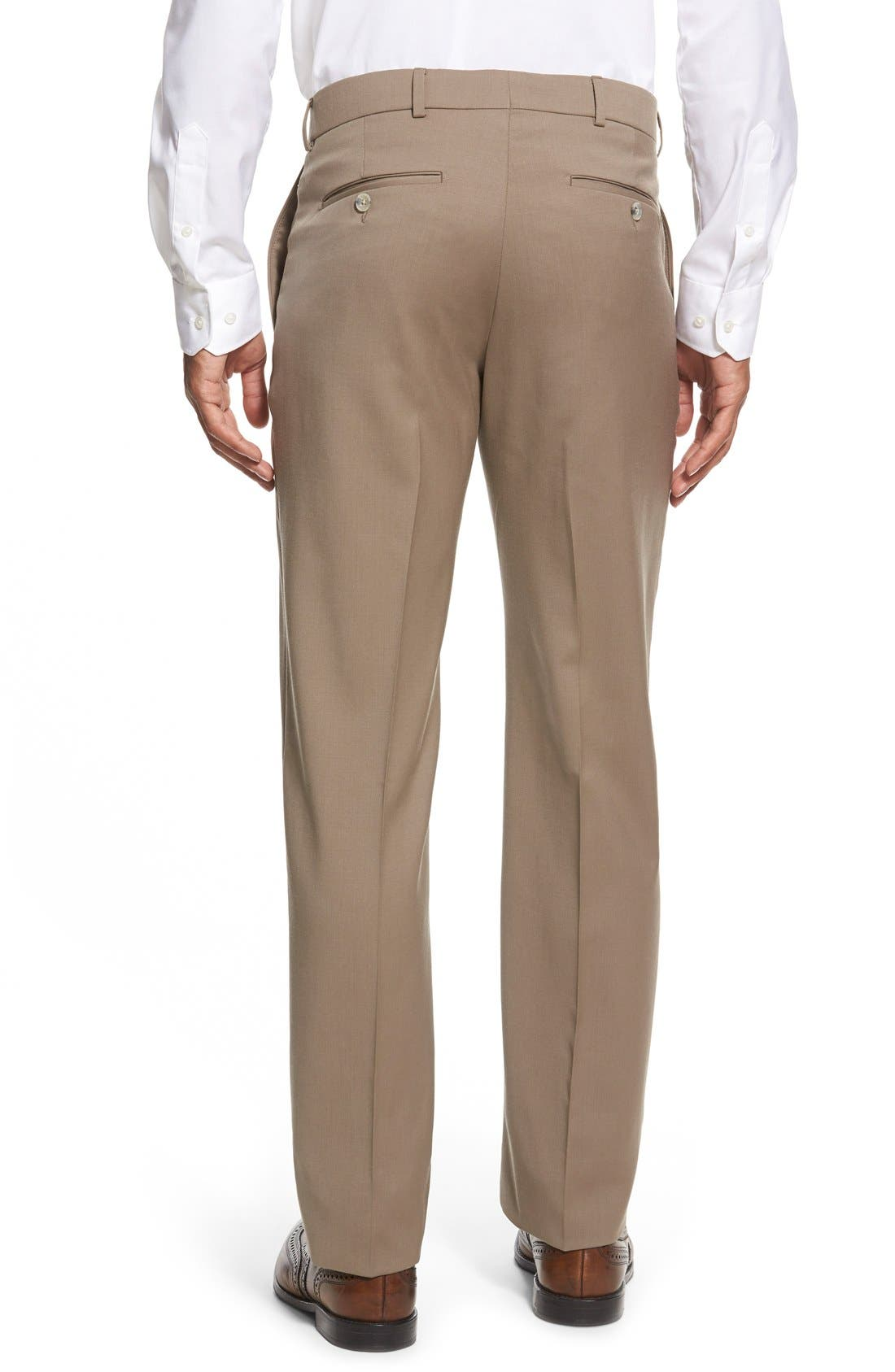 Flat Front Solid Wool Trousers,                             Alternate thumbnail 42, color,