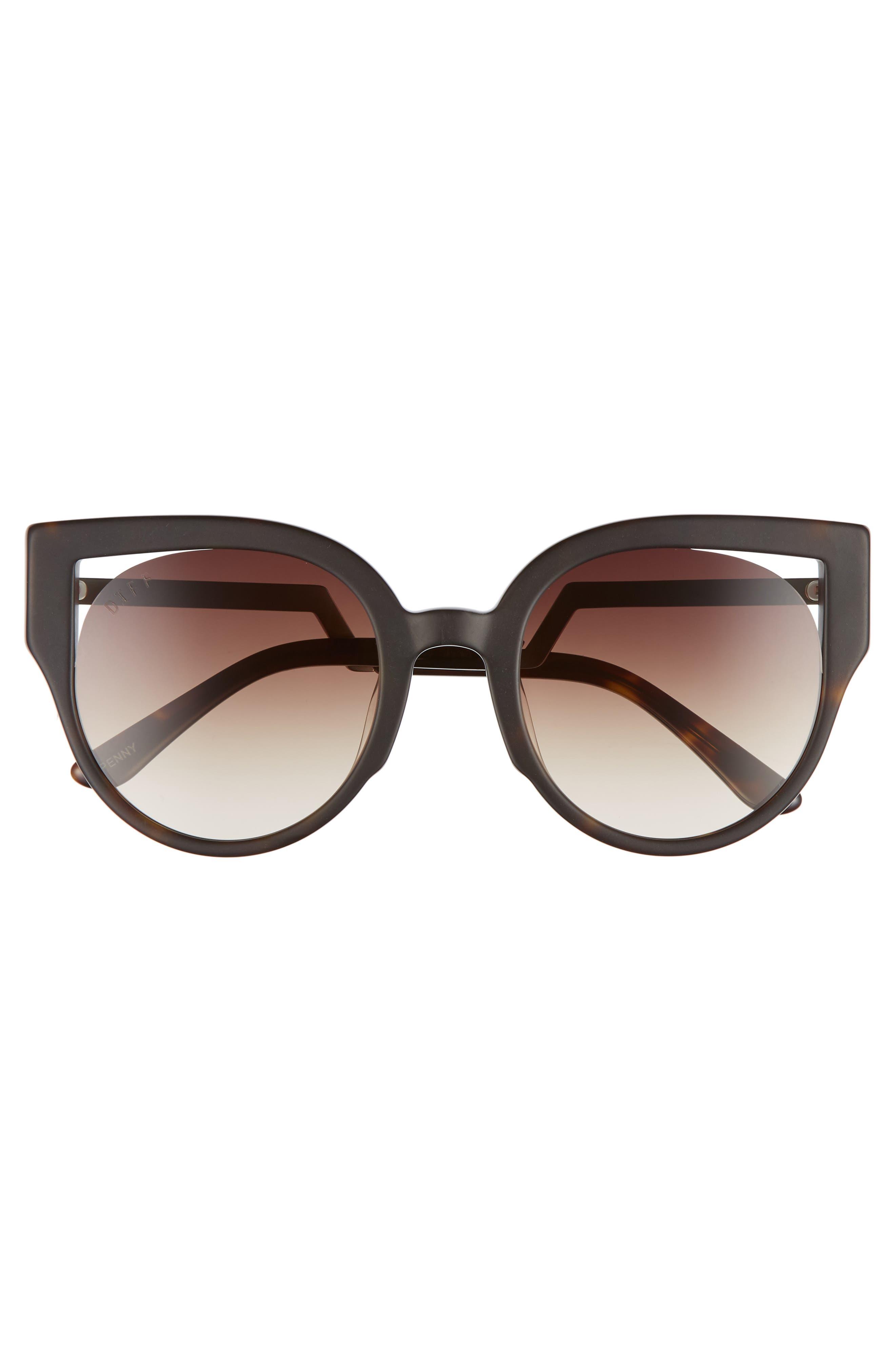 Penny 55mm Cat Eye Sunglasses,                             Alternate thumbnail 3, color,                             MATTE TORTOISE/ BROWN