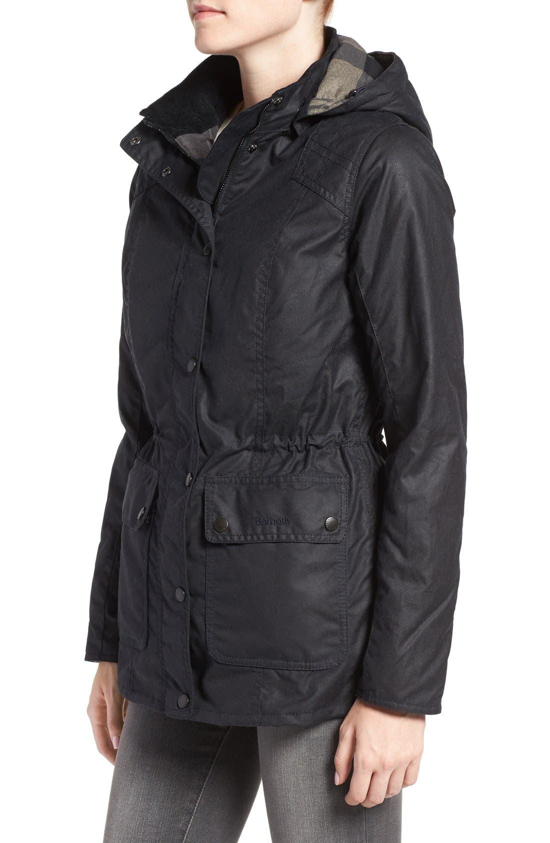 'Orkney' Waxed Cotton Anorak with Removable Hood,                             Alternate thumbnail 4, color,                             410