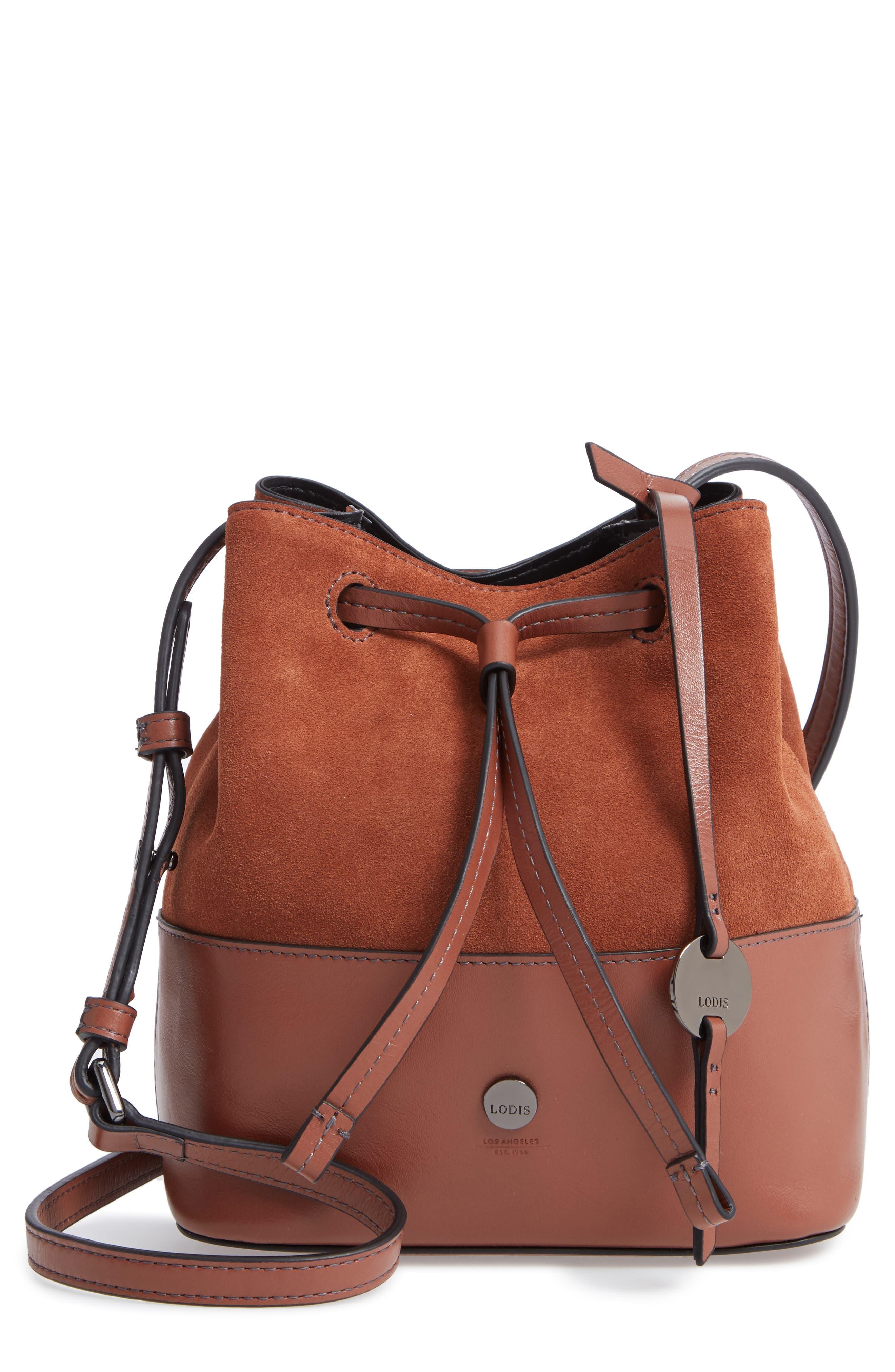 Small Blake RFID Leather Bucket Bag,                             Main thumbnail 1, color,                             SADDLE