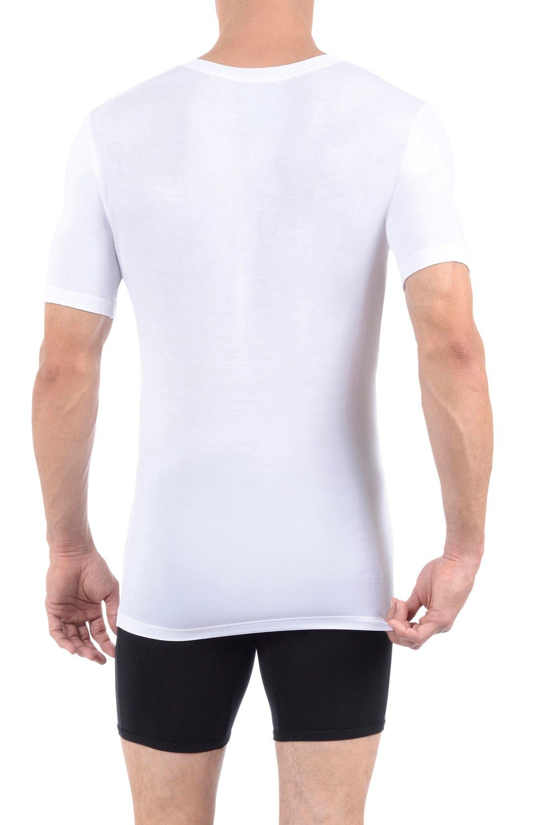 Cool Cotton Deep V-Neck Undershirt,                             Alternate thumbnail 2, color,                             WHITE
