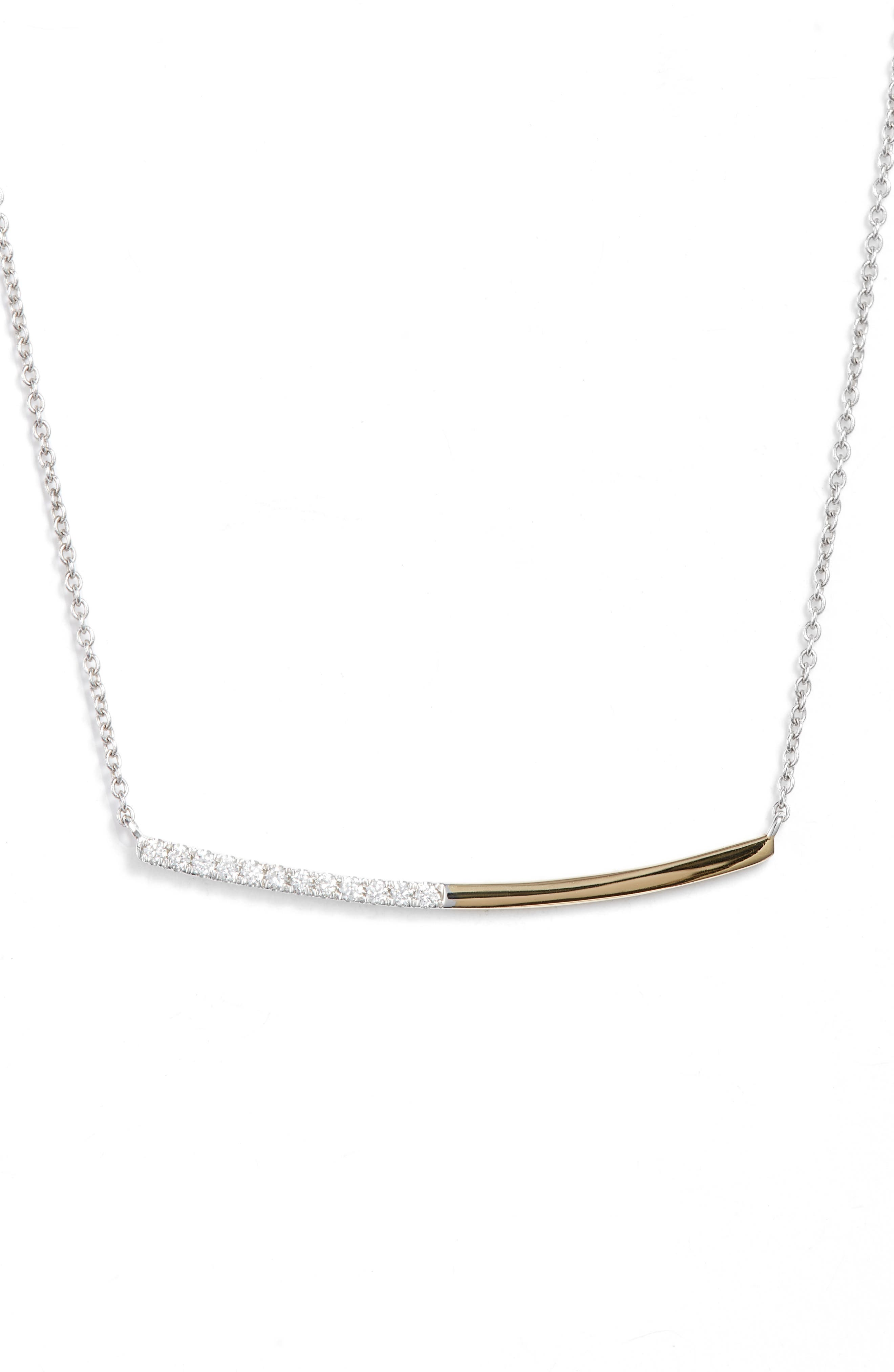 Two-Tone Curved Diamond Bar Neck,                         Main,                         color, YELLOW GOLD/ WHITE GOLD