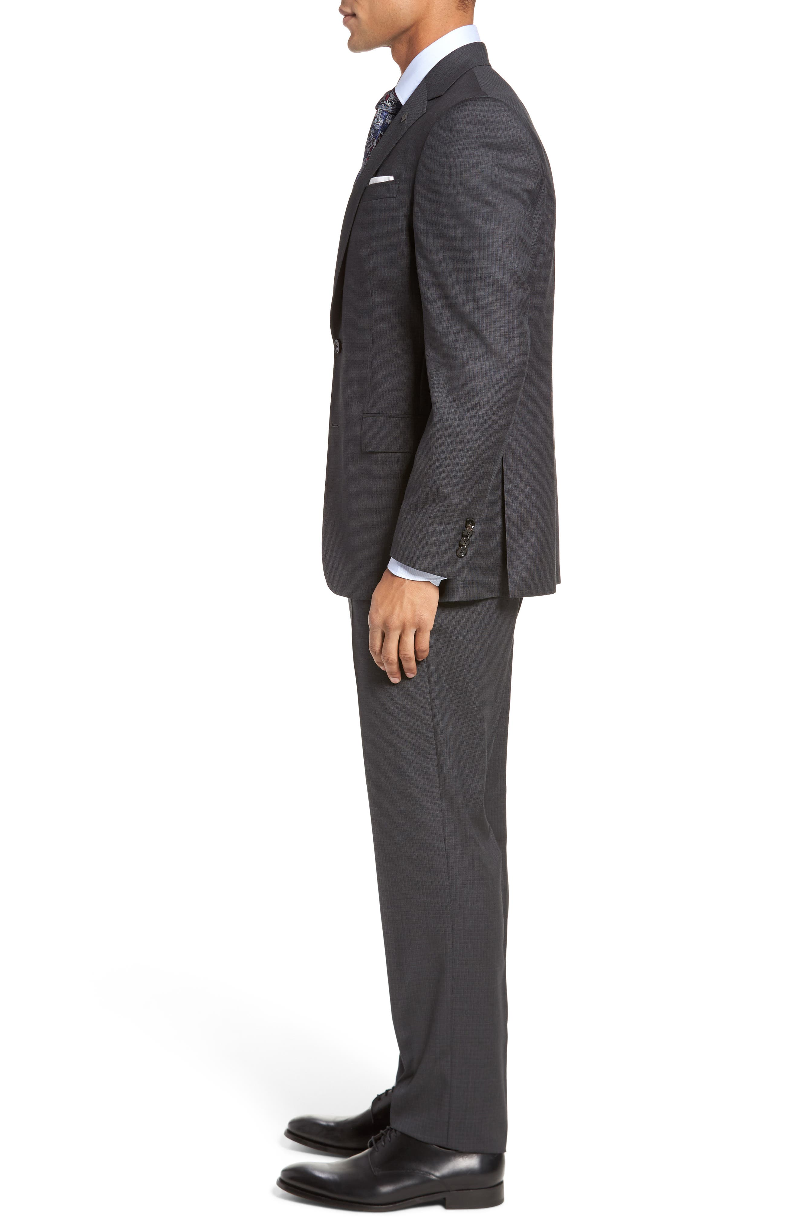 Jay Trim Fit Check Wool Suit,                             Alternate thumbnail 3, color,                             020