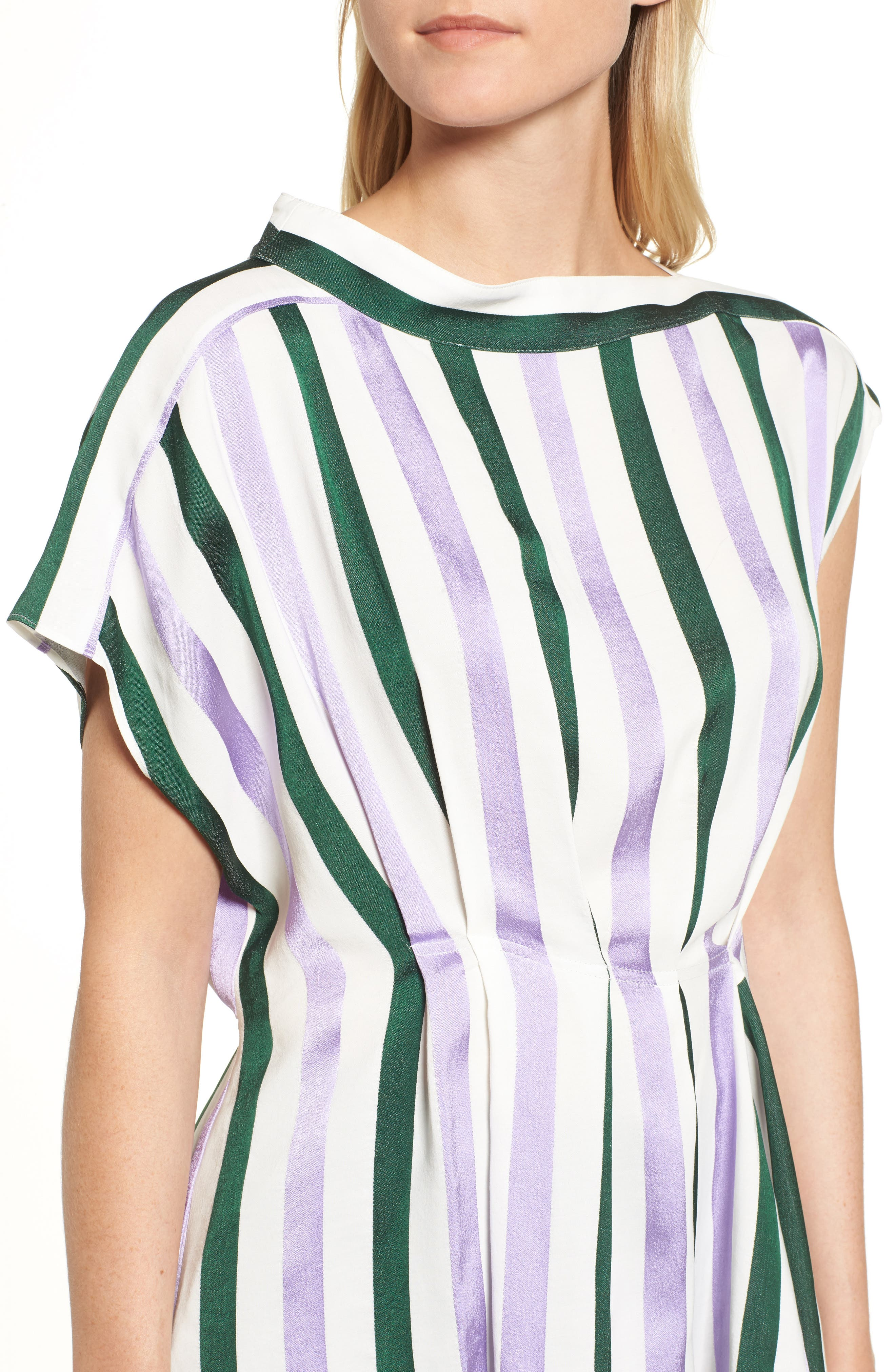 Stripe Draped Peplum Top,                             Alternate thumbnail 4, color,                             310