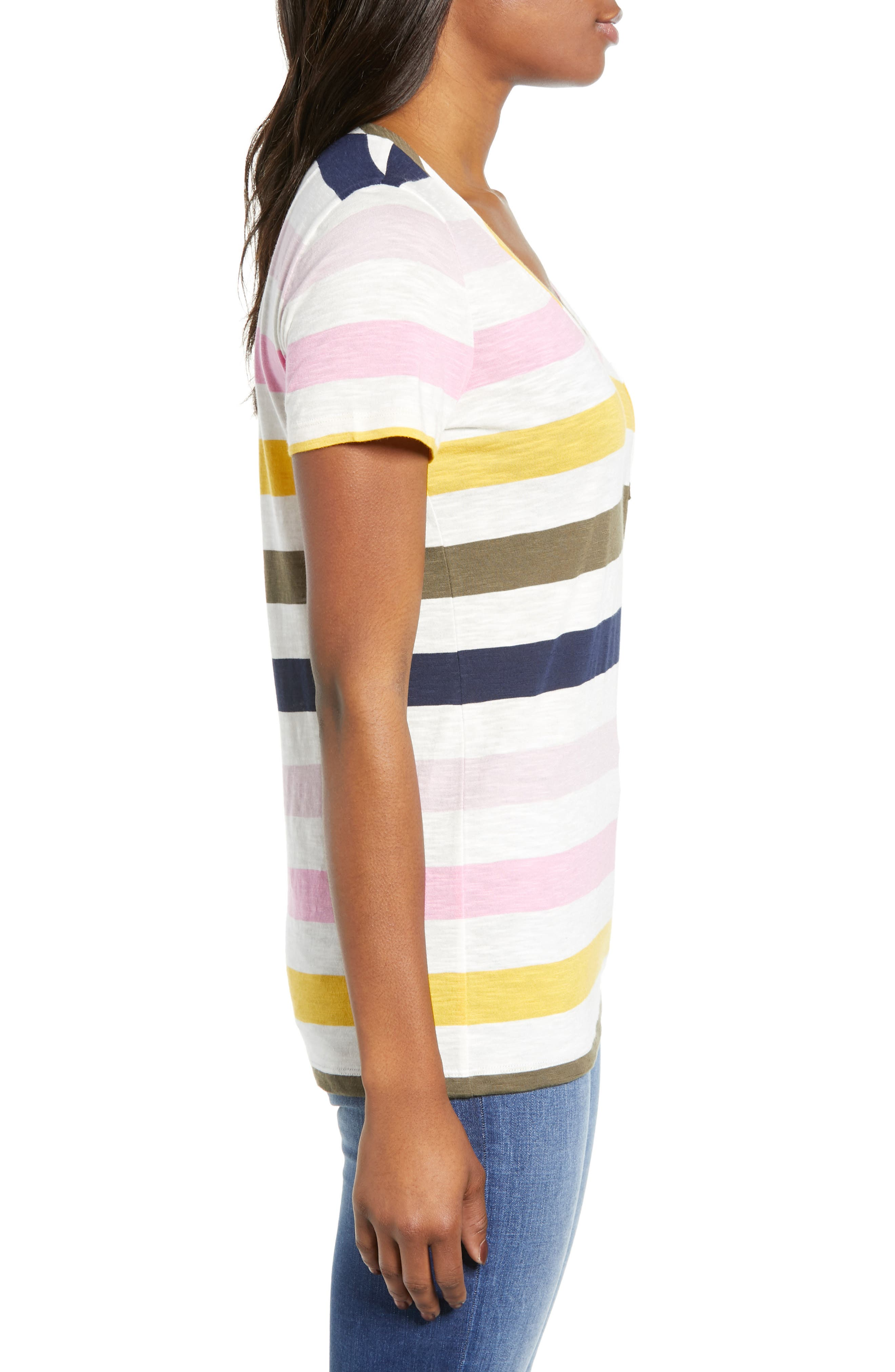 CASLON<SUP>®</SUP>,                             Rounded V-Neck Tee,                             Alternate thumbnail 4, color,                             PINK S- NAVY P NOMAD STRIPE