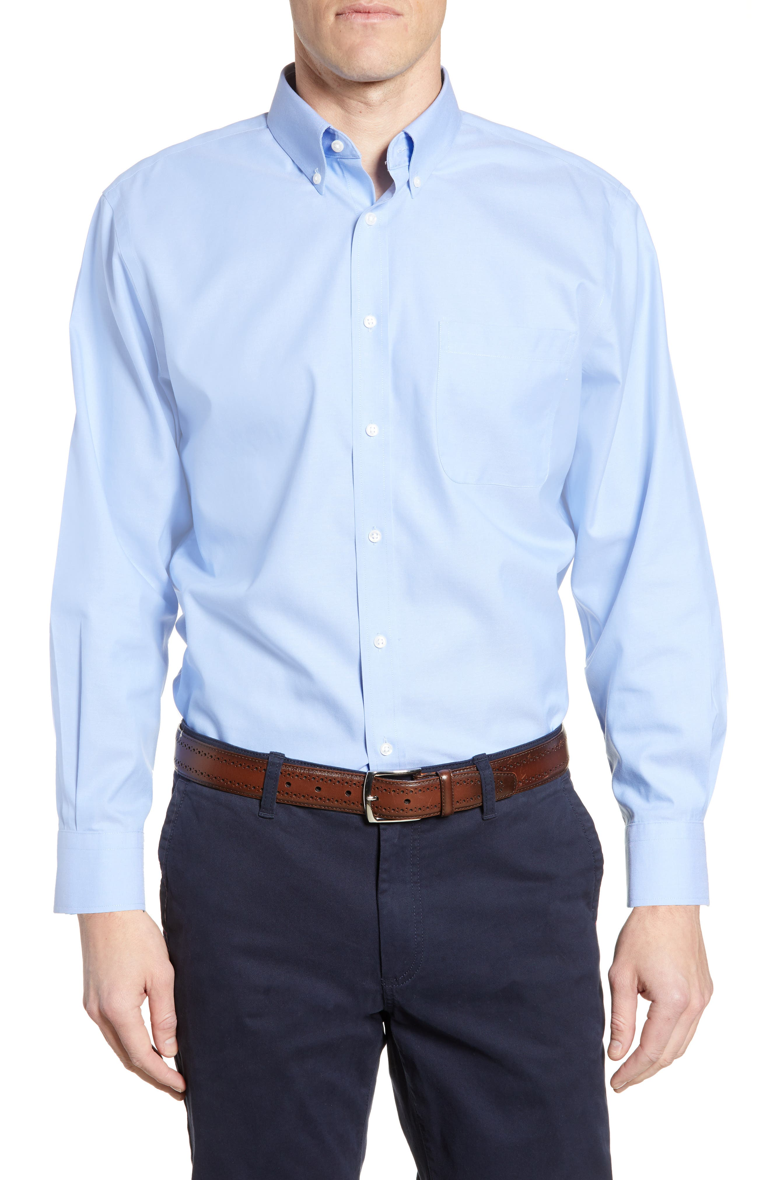 Nordstrom Shop Smartcare(TM) Traditional Fit Pinpoint Dress Shirt - Blue
