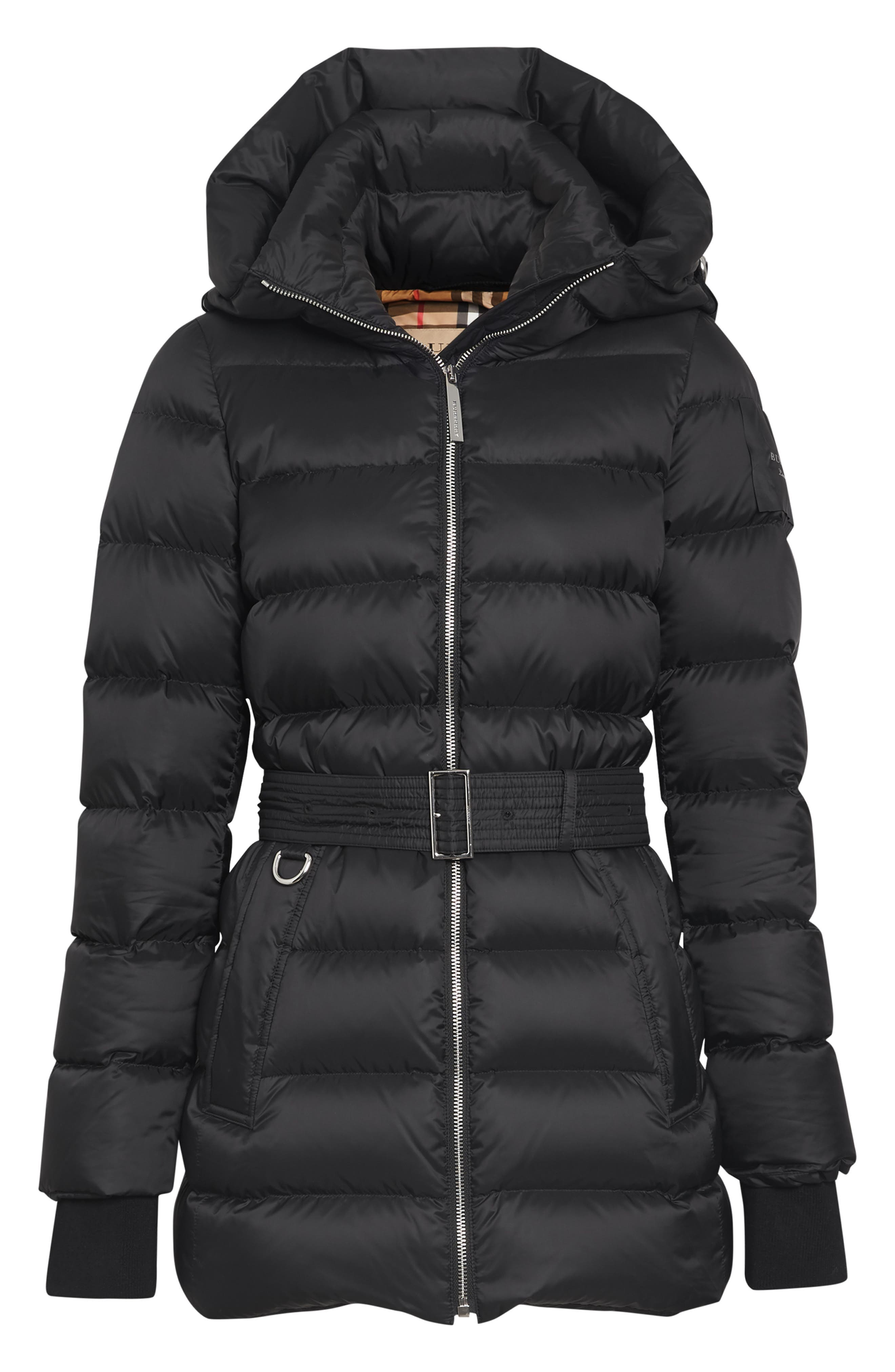 Limehouse Quilted Down Puffer Coat,                             Alternate thumbnail 3, color,                             BLACK
