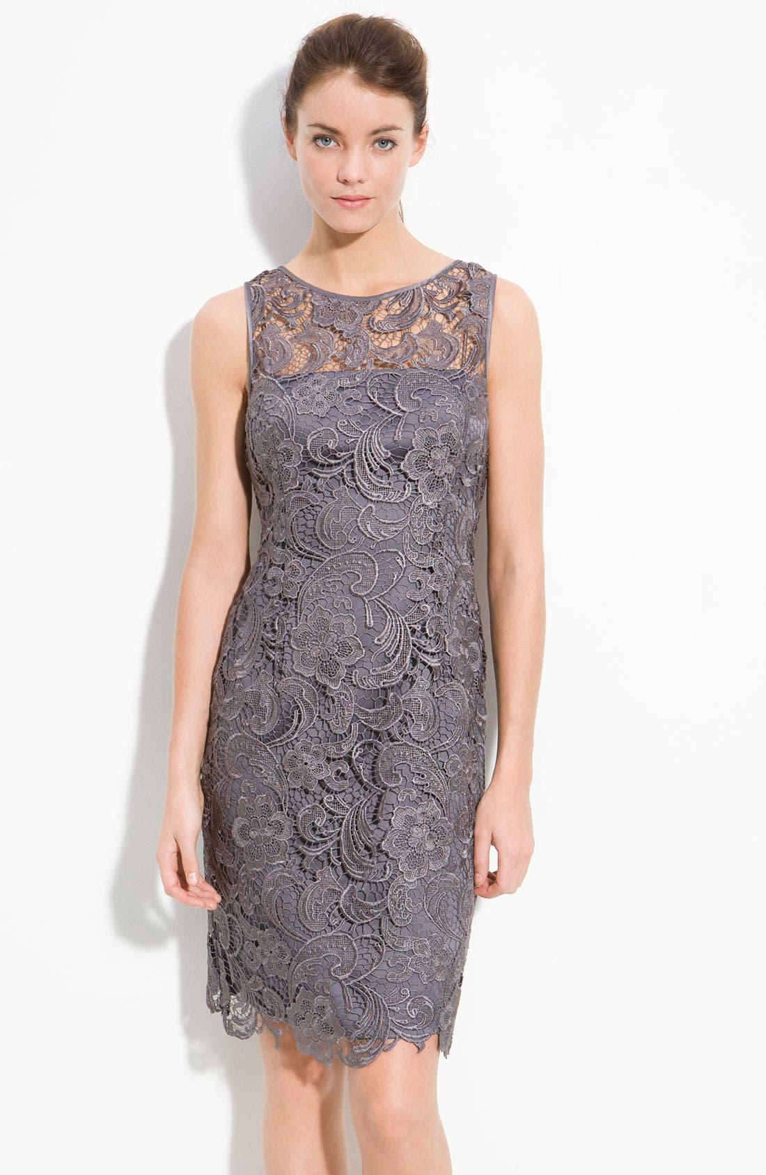 Illusion Bodice Lace Sheath Dress,                             Main thumbnail 3, color,