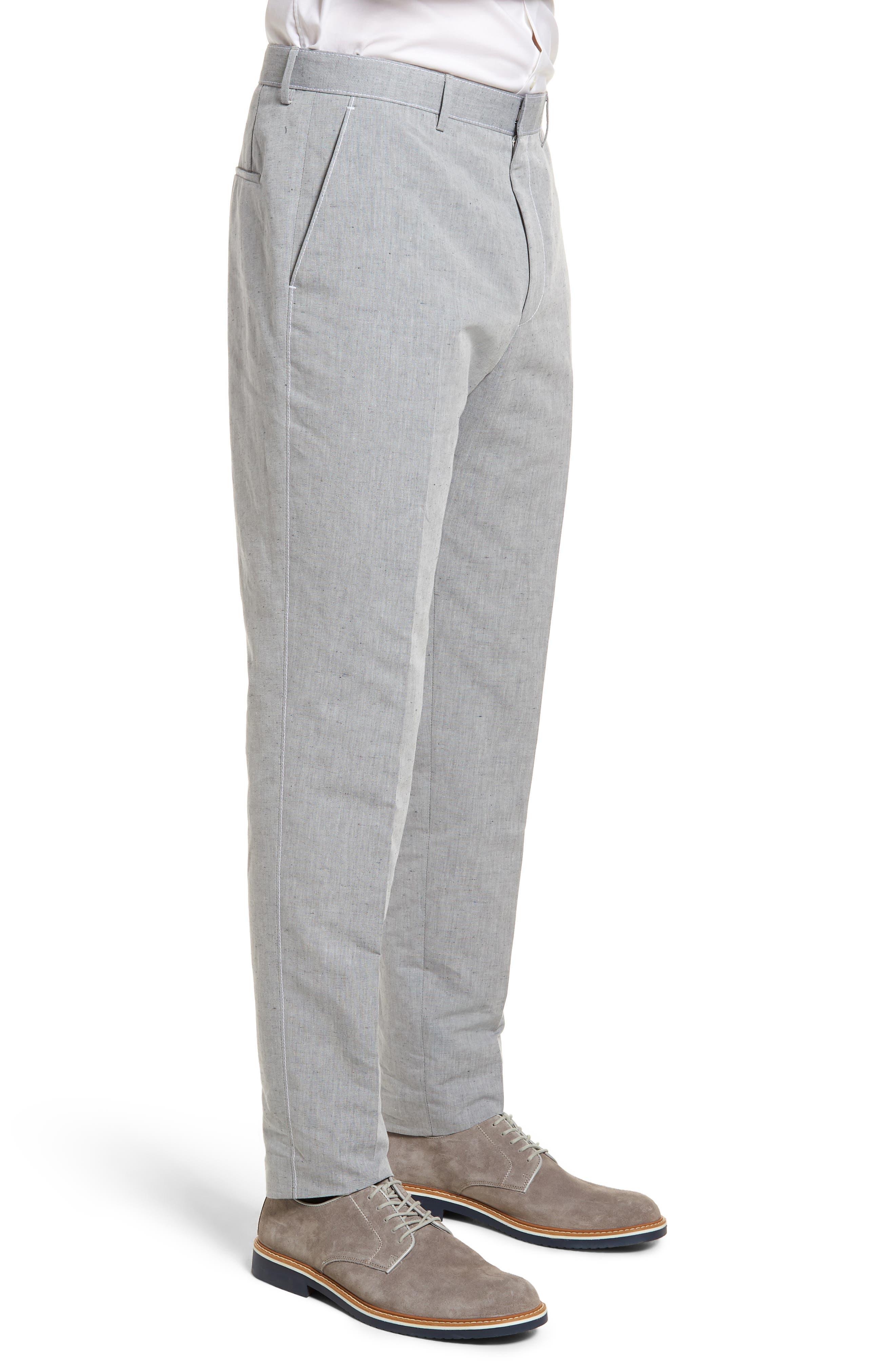 Pirko Flat Front Linen & Cotton Trousers,                             Alternate thumbnail 3, color,                             020