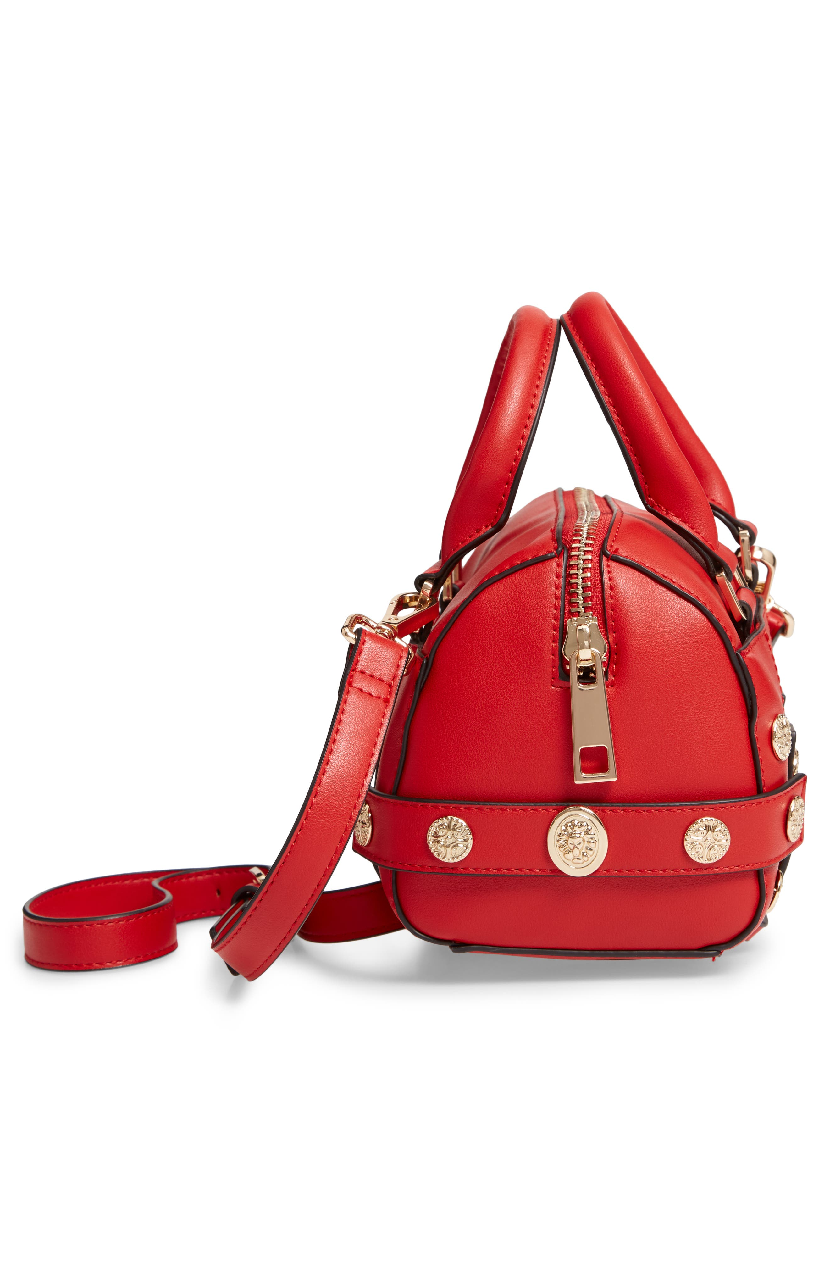 Bianca Studded Faux Leather Bowler Bag,                             Alternate thumbnail 5, color,                             RED MULTI