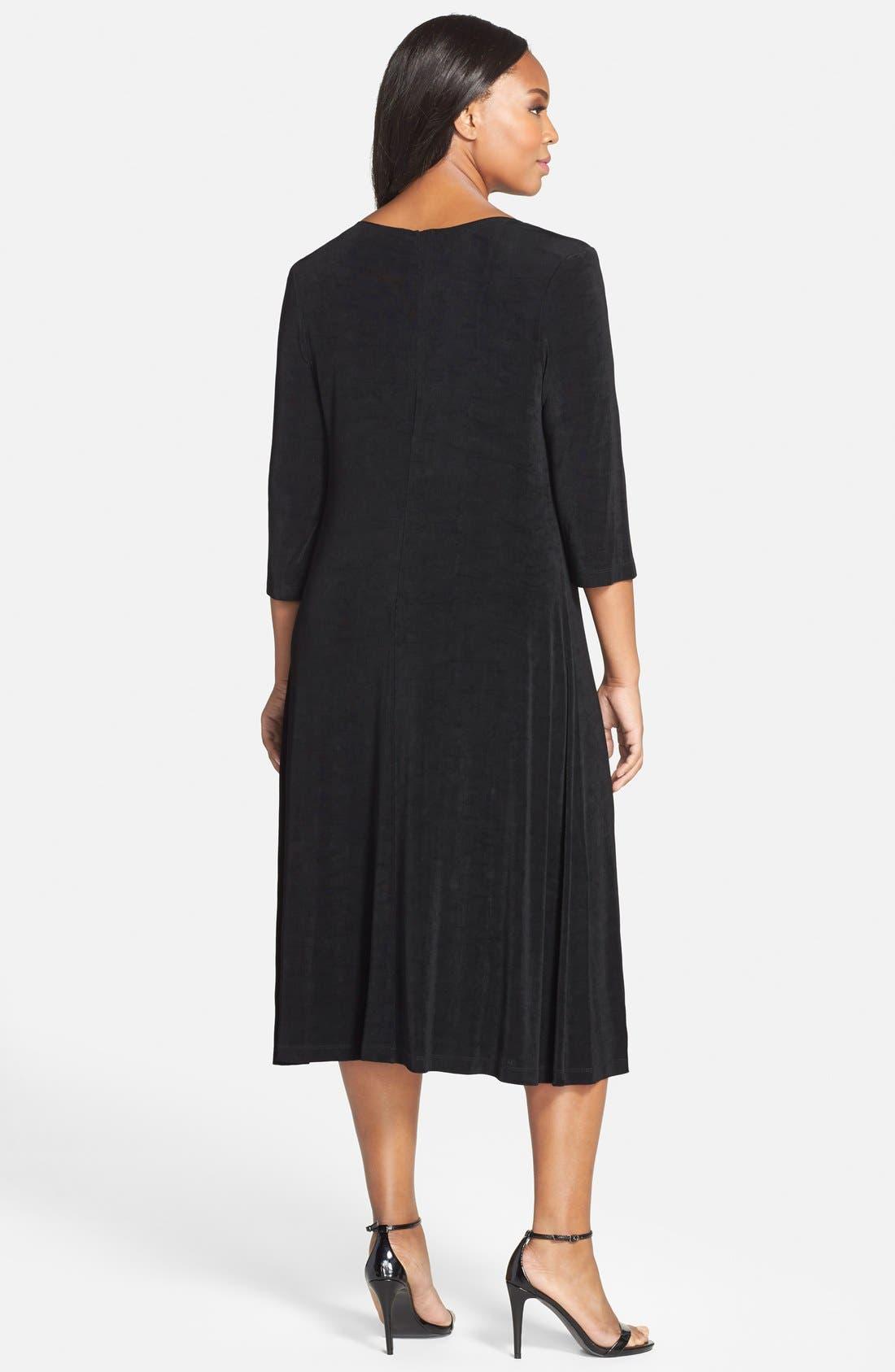 Three-Quarter Sleeve Stretch Knit A-Line Dress,                             Alternate thumbnail 9, color,                             BLACK