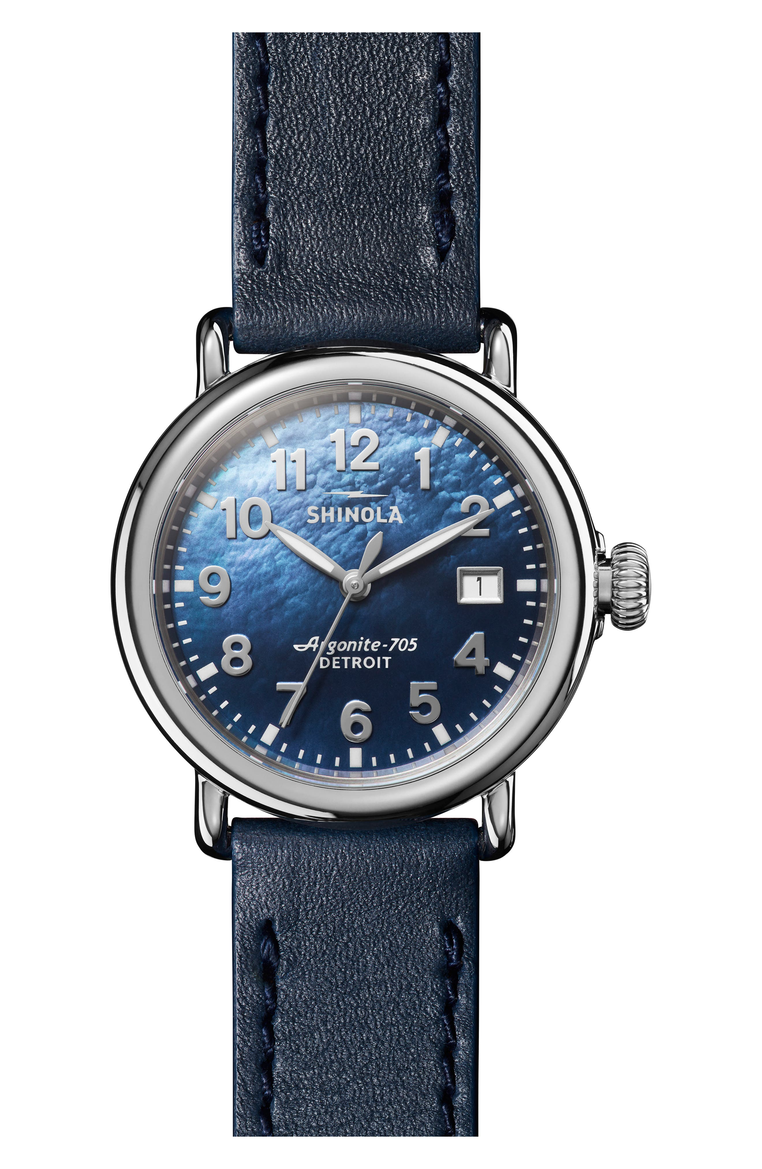 The Runwell Leather Strap Watch, 36mm,                             Main thumbnail 1, color,                             OCEAN/ BLUE MOP/ SILVER