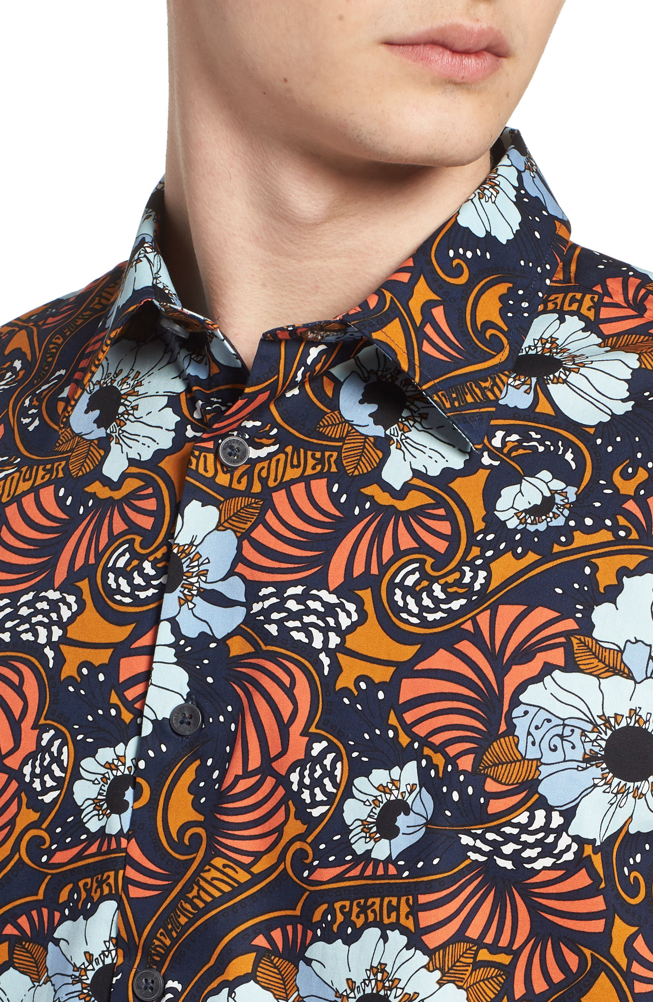 Psychedelic Floral Modern Fit Short Sleeve Sport Shirt,                             Alternate thumbnail 4, color,                             402