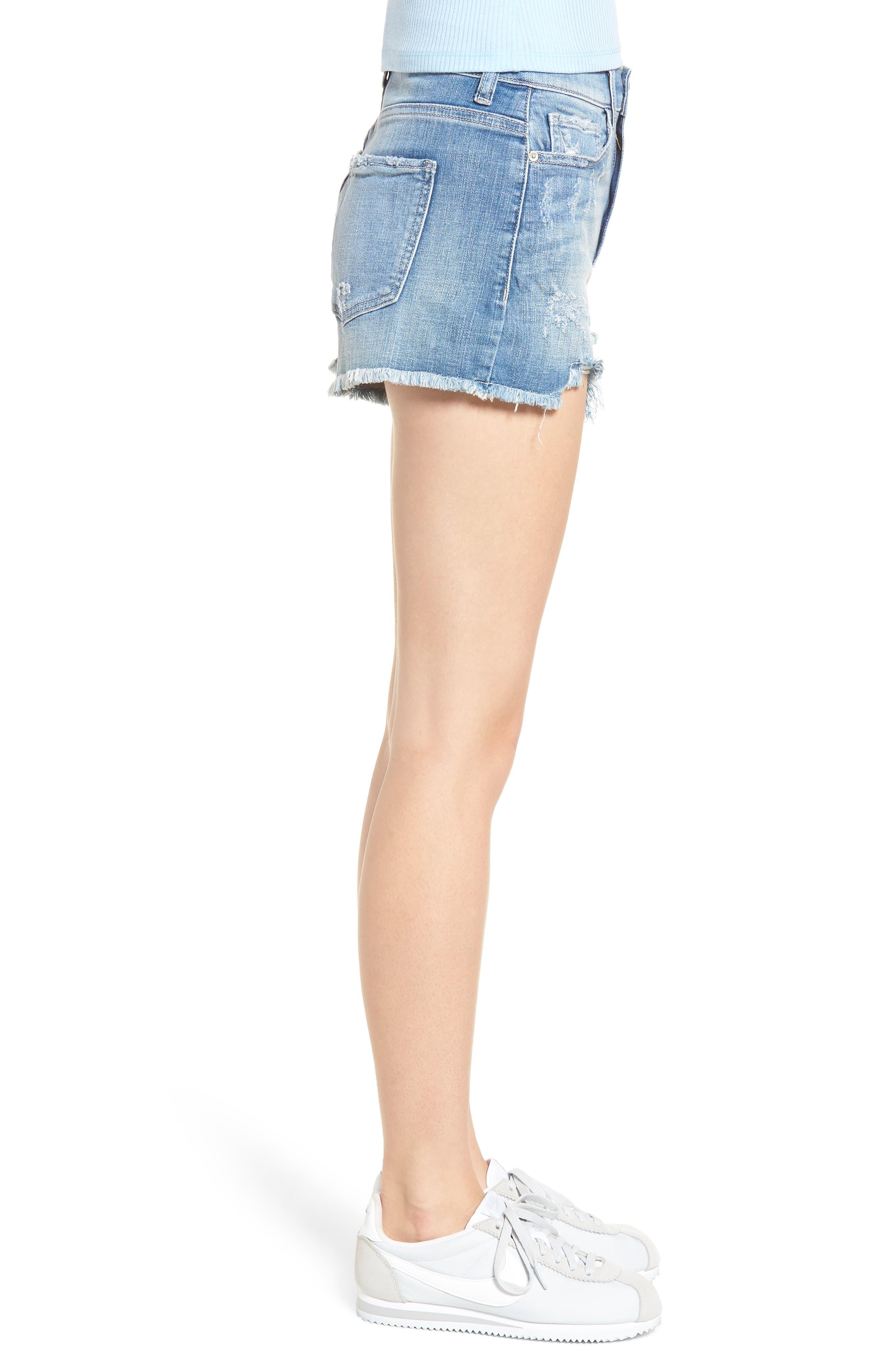 High Waist Frayed Hem Shorts,                             Alternate thumbnail 3, color,