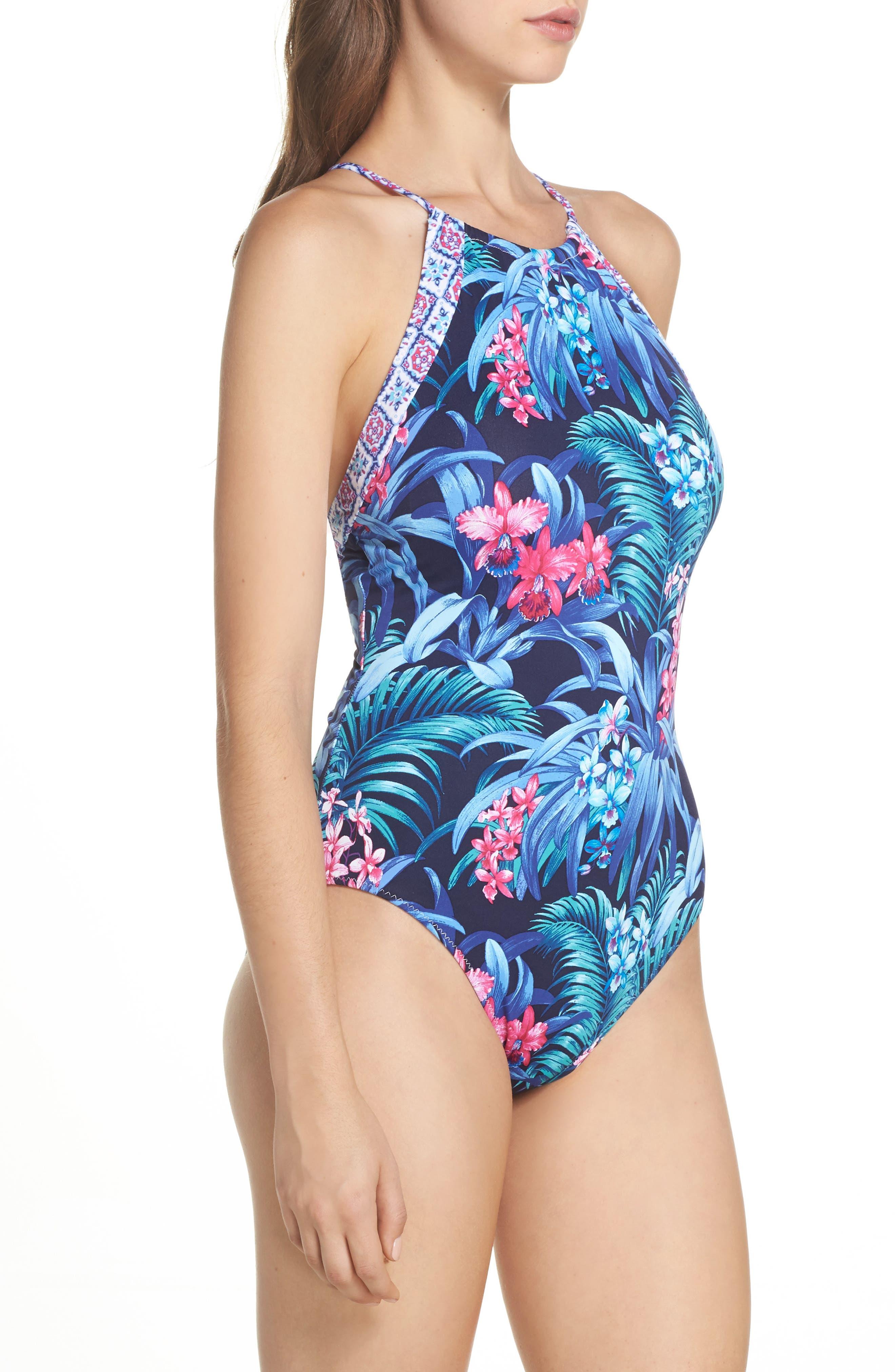 Majorelle Reversible One-Piece Swimsuit,                             Alternate thumbnail 4, color,                             400