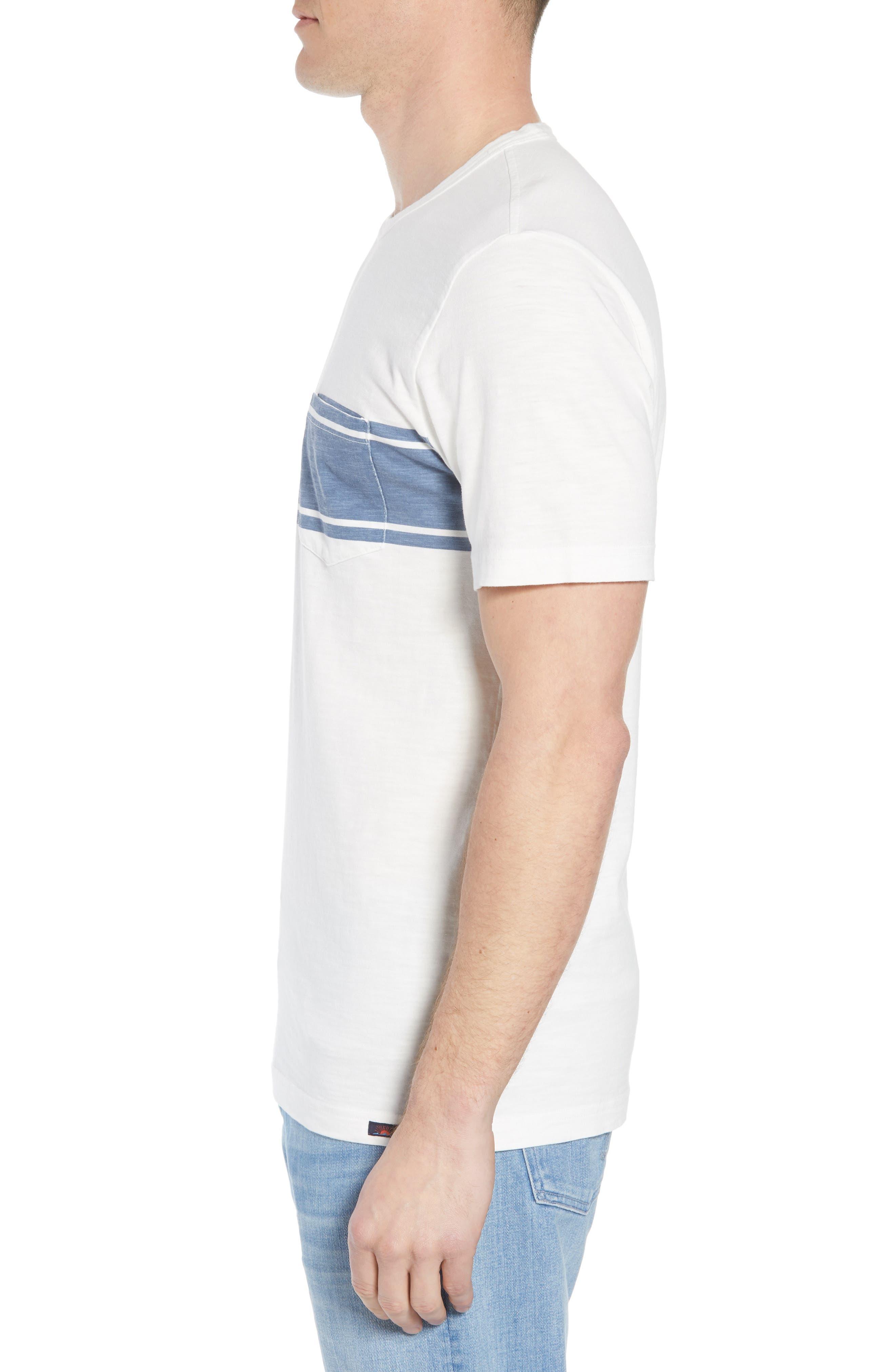 Surf Stripe Pocket T-Shirt,                             Alternate thumbnail 3, color,                             WHITE SURF STRIPE