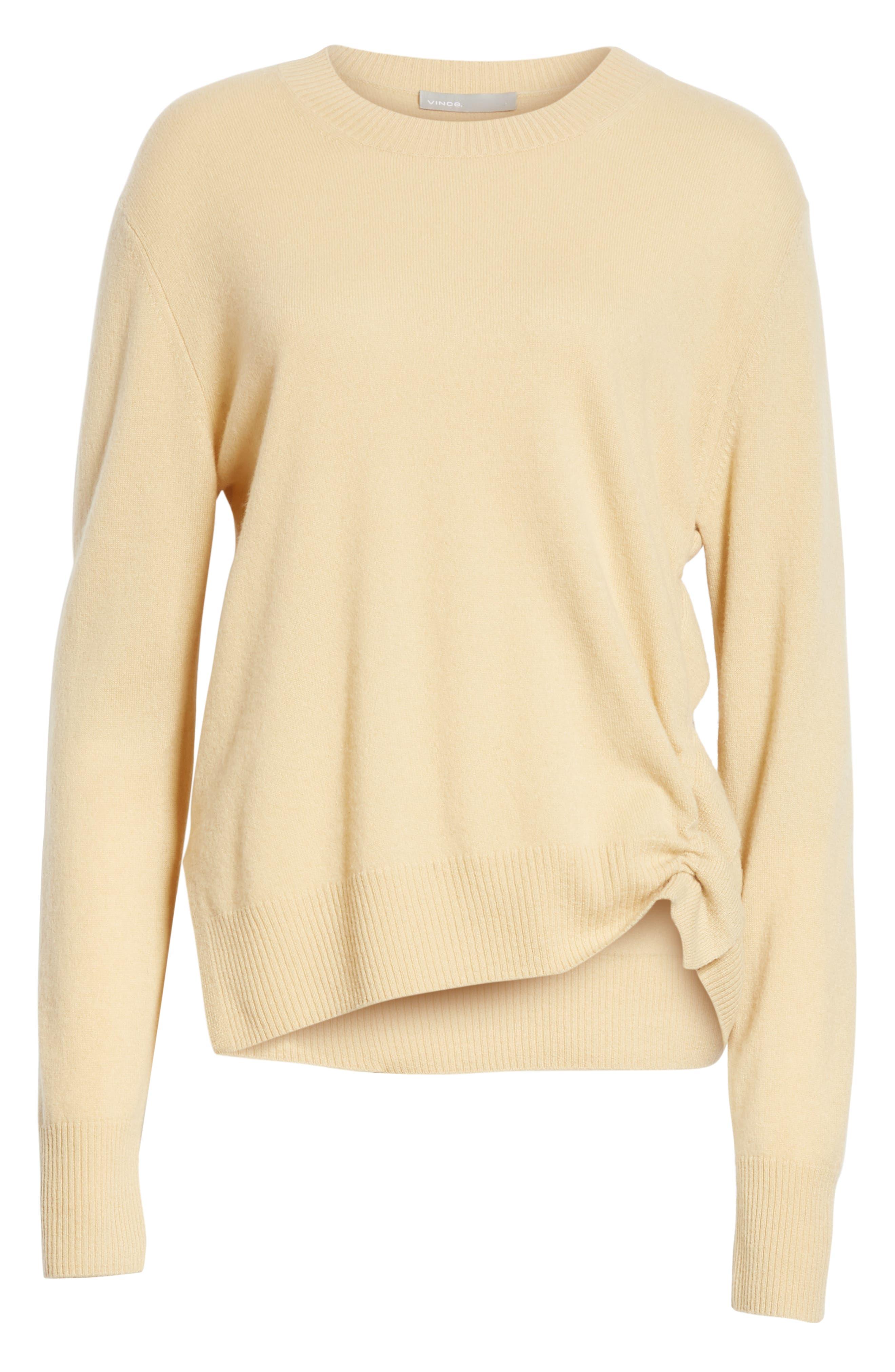 Side Cinch Cashmere Crewneck Sweater,                             Alternate thumbnail 6, color,                             293