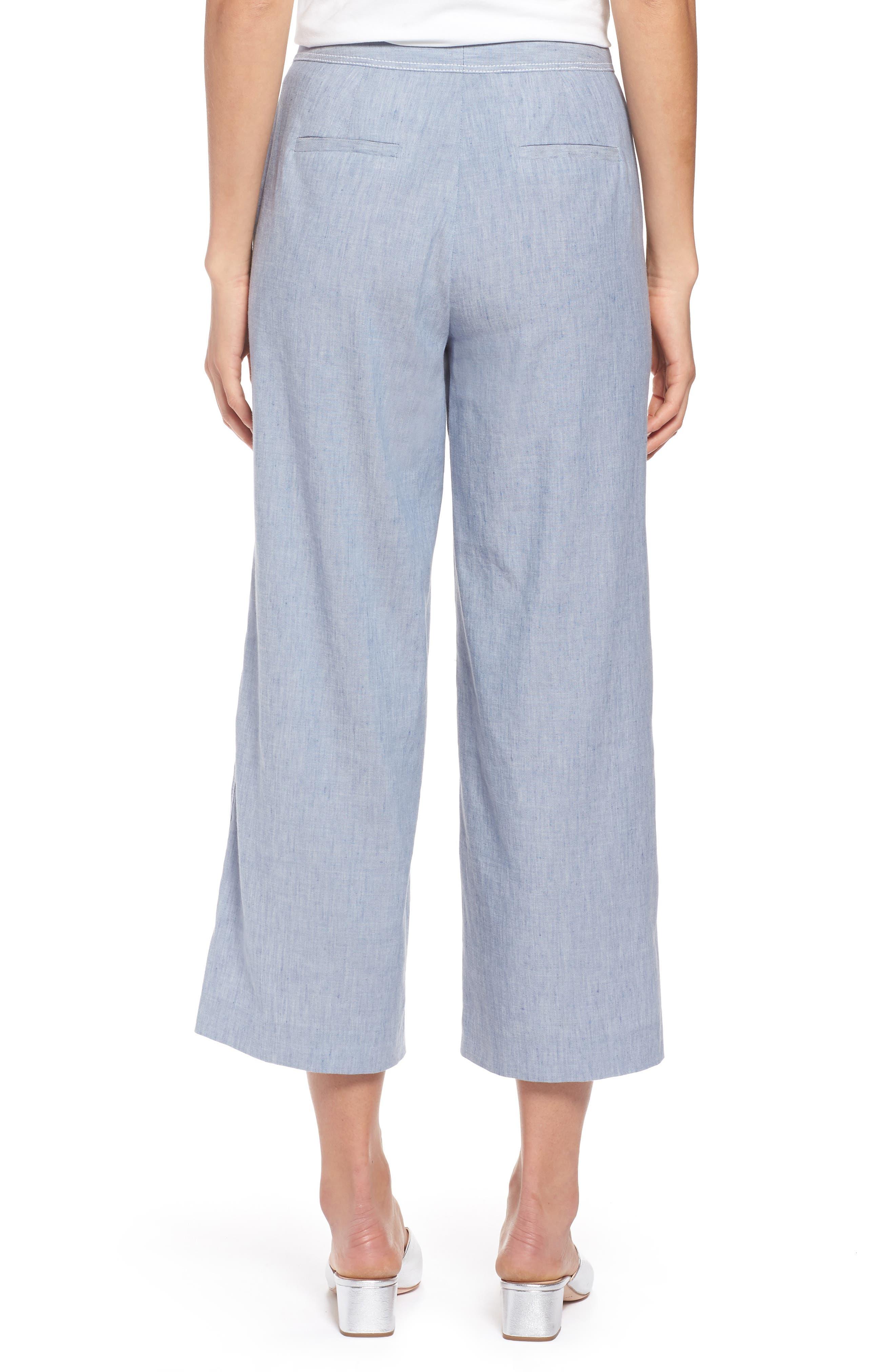 Wide Leg Linen Blend Pants,                             Alternate thumbnail 2, color,