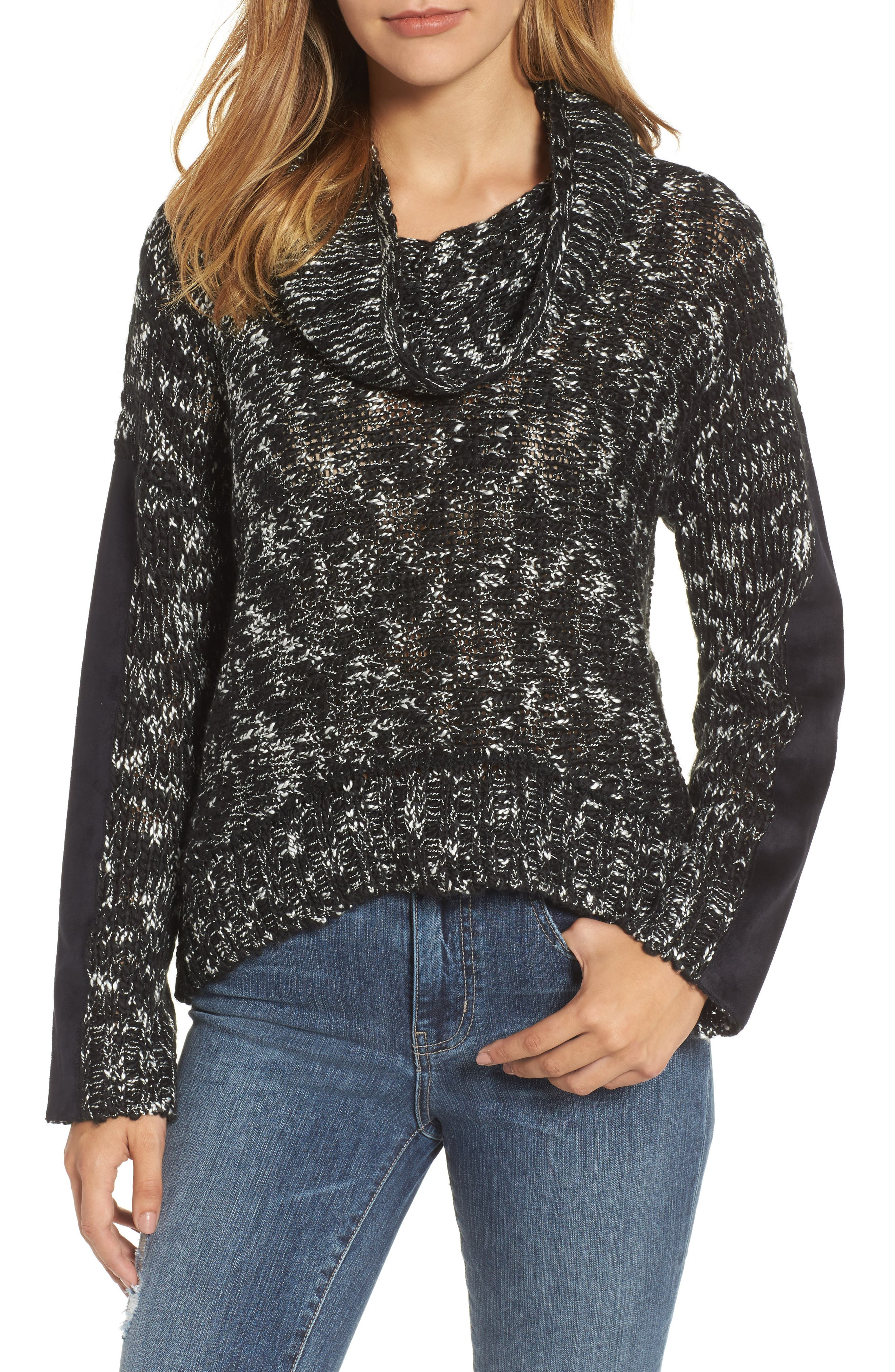Cowl Neck Patch Sleeve Sweater,                             Main thumbnail 1, color,                             001