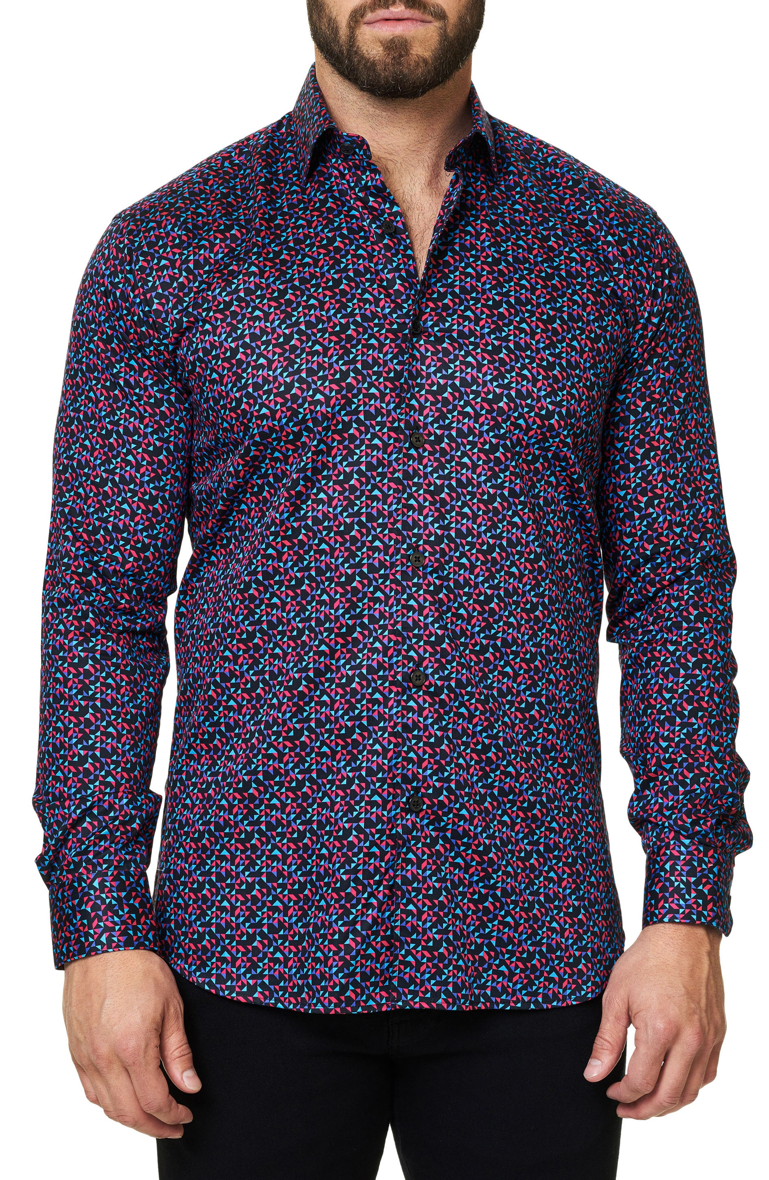 Luxor Abstract Mosaique Slim Fit Sport Shirt,                             Main thumbnail 1, color,                             400