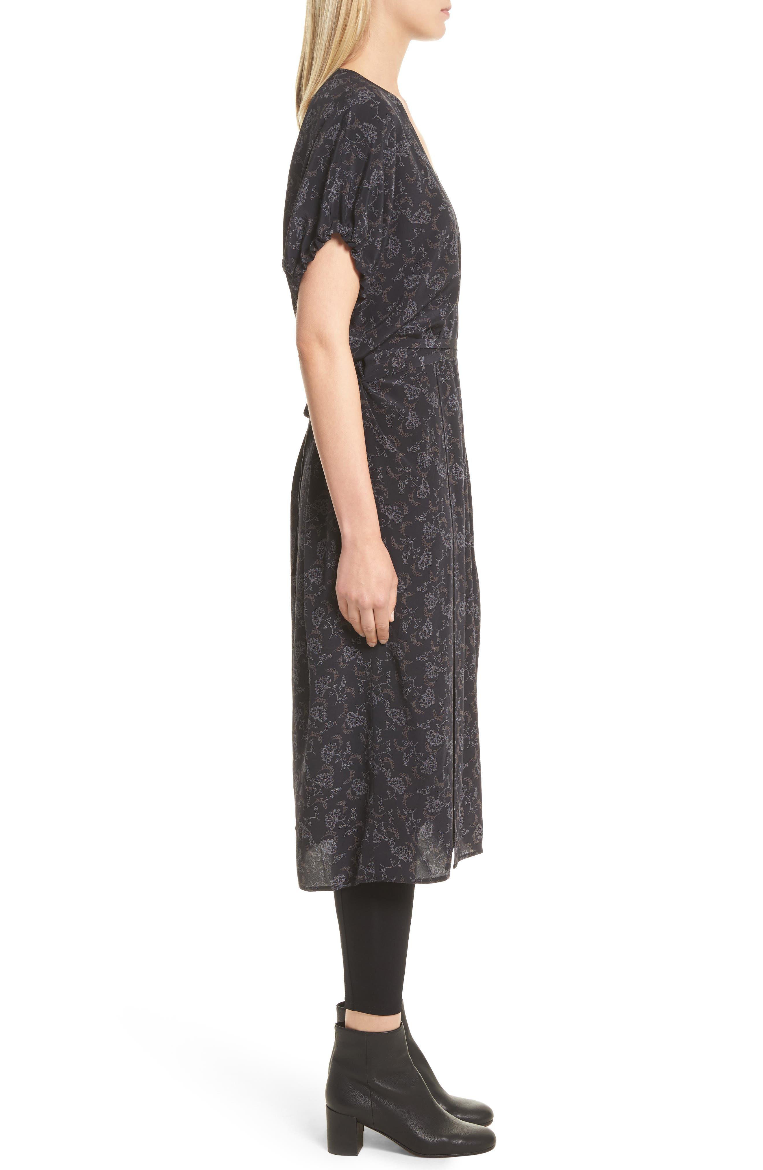 Floral Dot Kimono Silk Wrap Dress,                             Alternate thumbnail 3, color,                             001