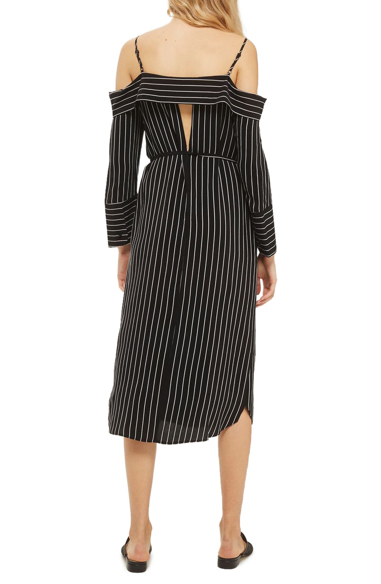 Pinstripe Midi Shirtdress,                             Alternate thumbnail 2, color,                             001