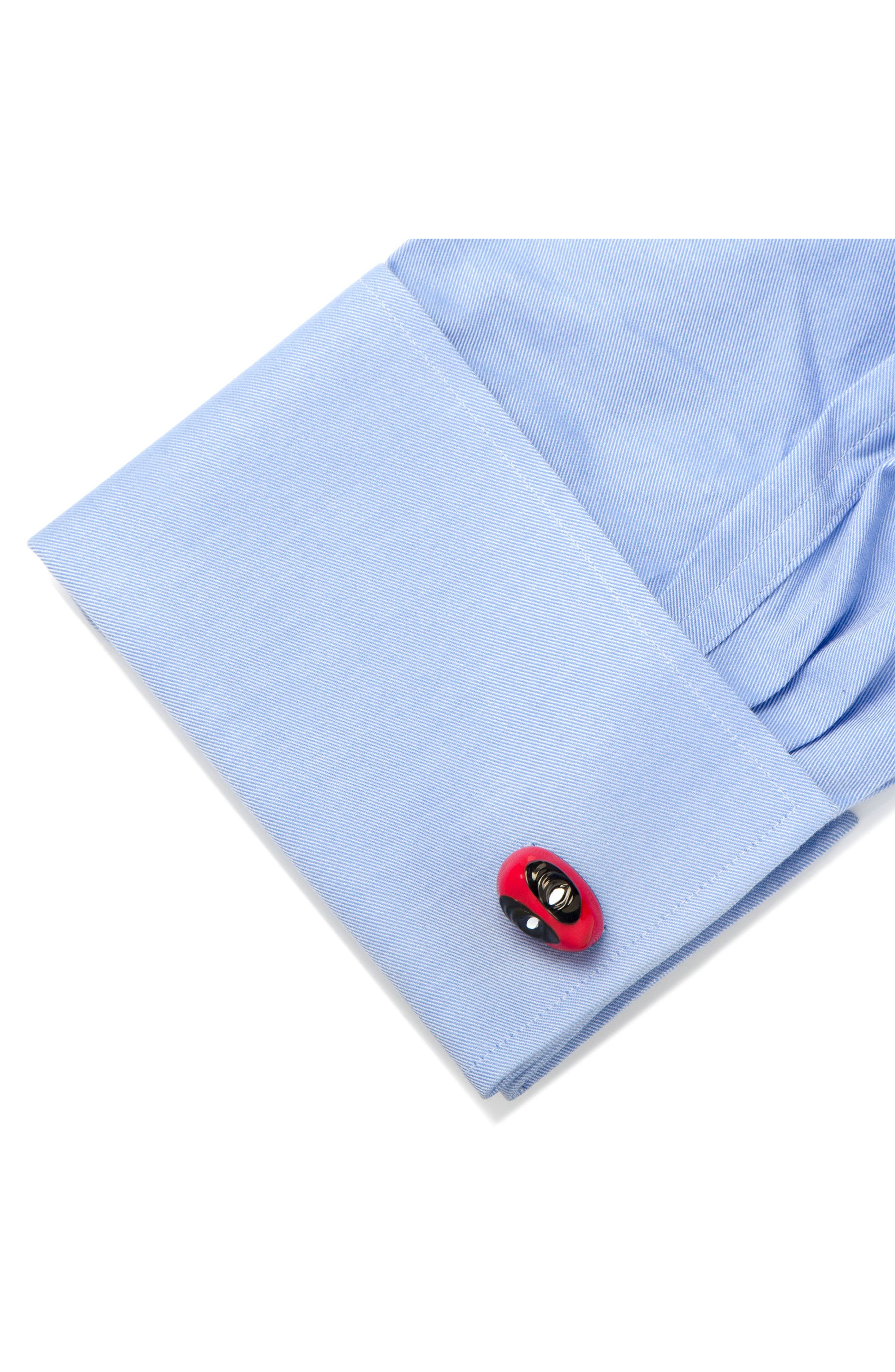 3D Deadpool Cuff Links,                             Alternate thumbnail 3, color,                             RED/ BLACK