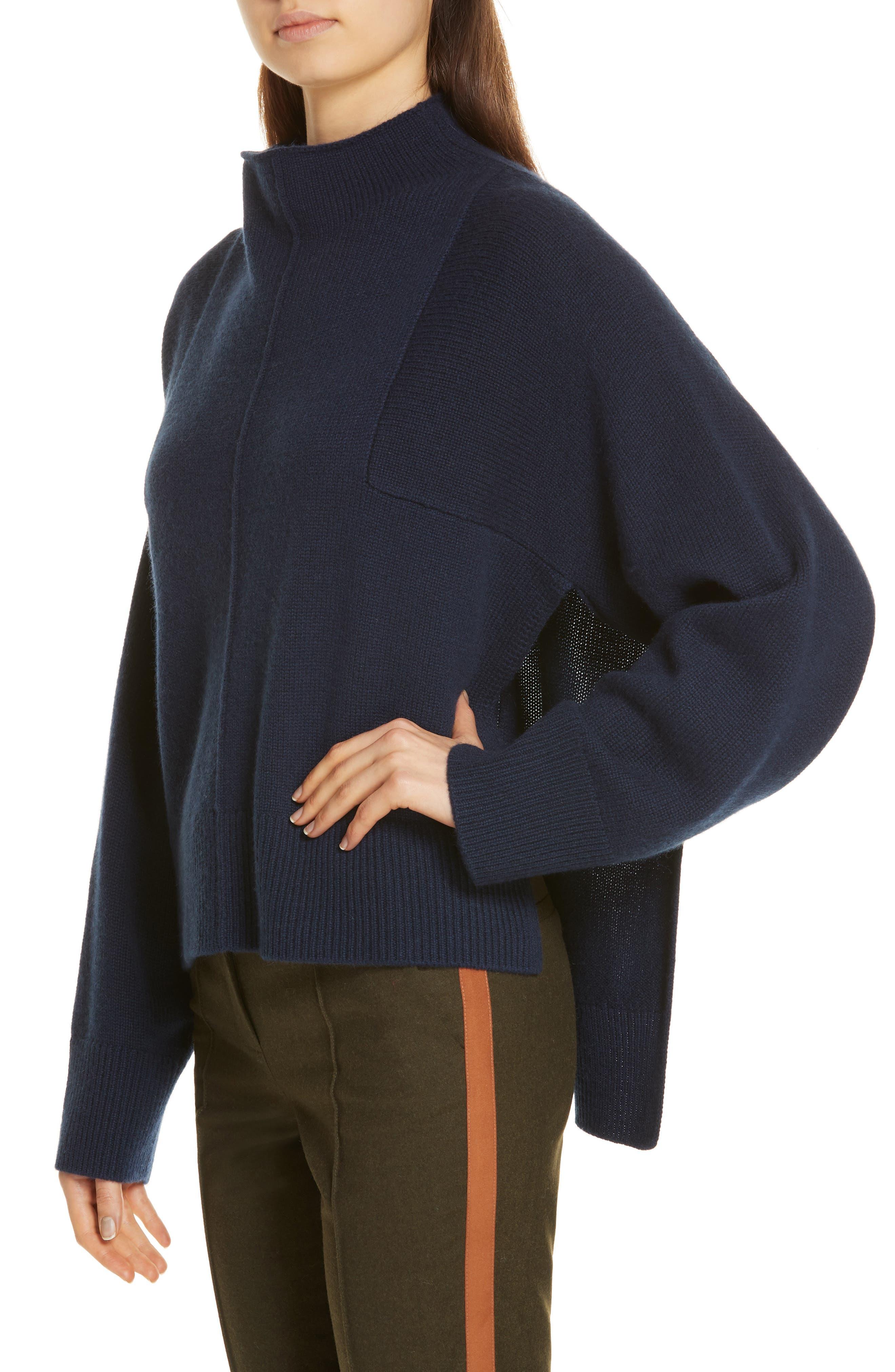 Side Slit Cashmere Sweater,                             Alternate thumbnail 4, color,                             NAVY MEDIEVAL