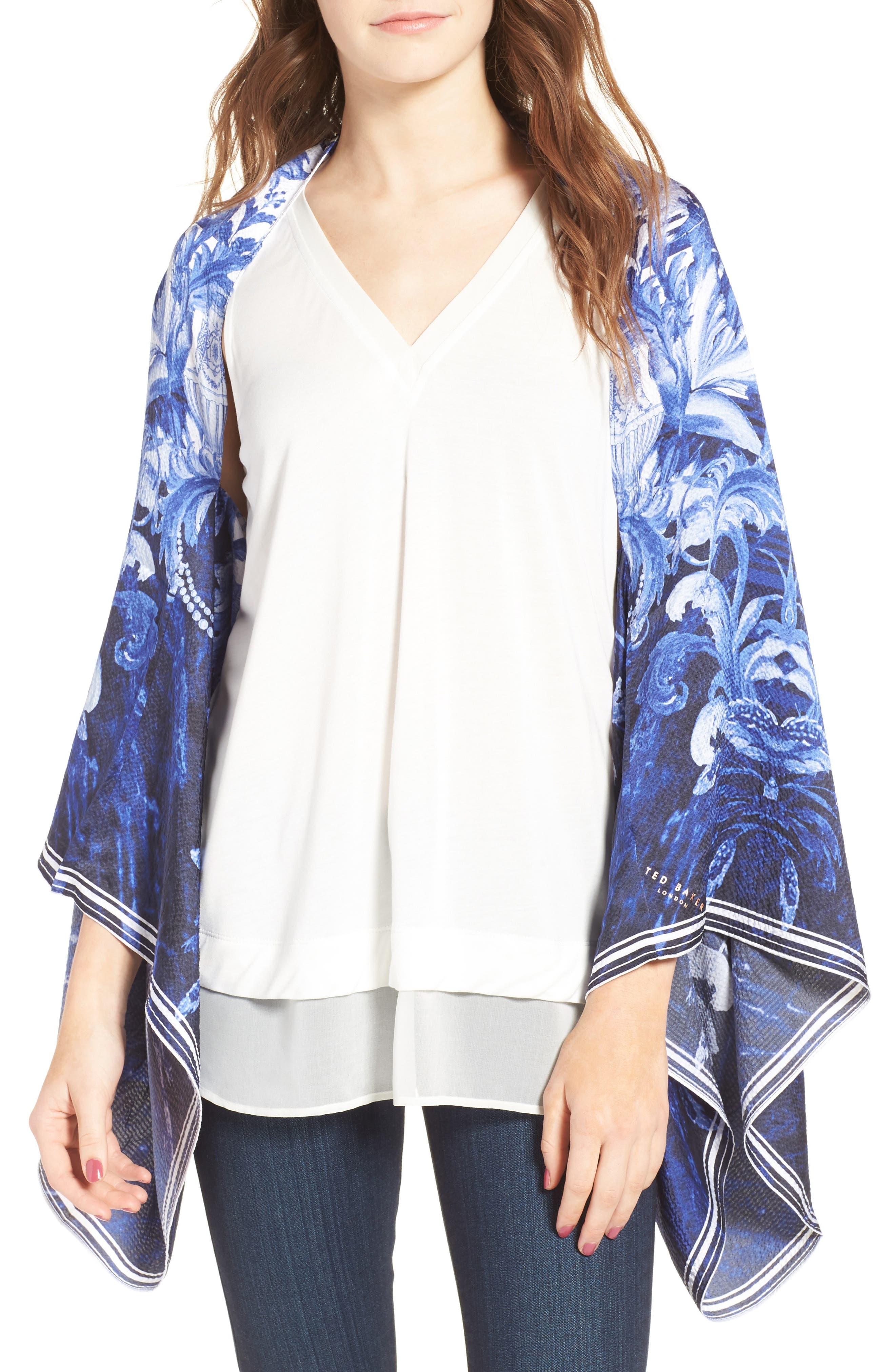 Persian Blue Silk Cape Scarf, Main, color, 410