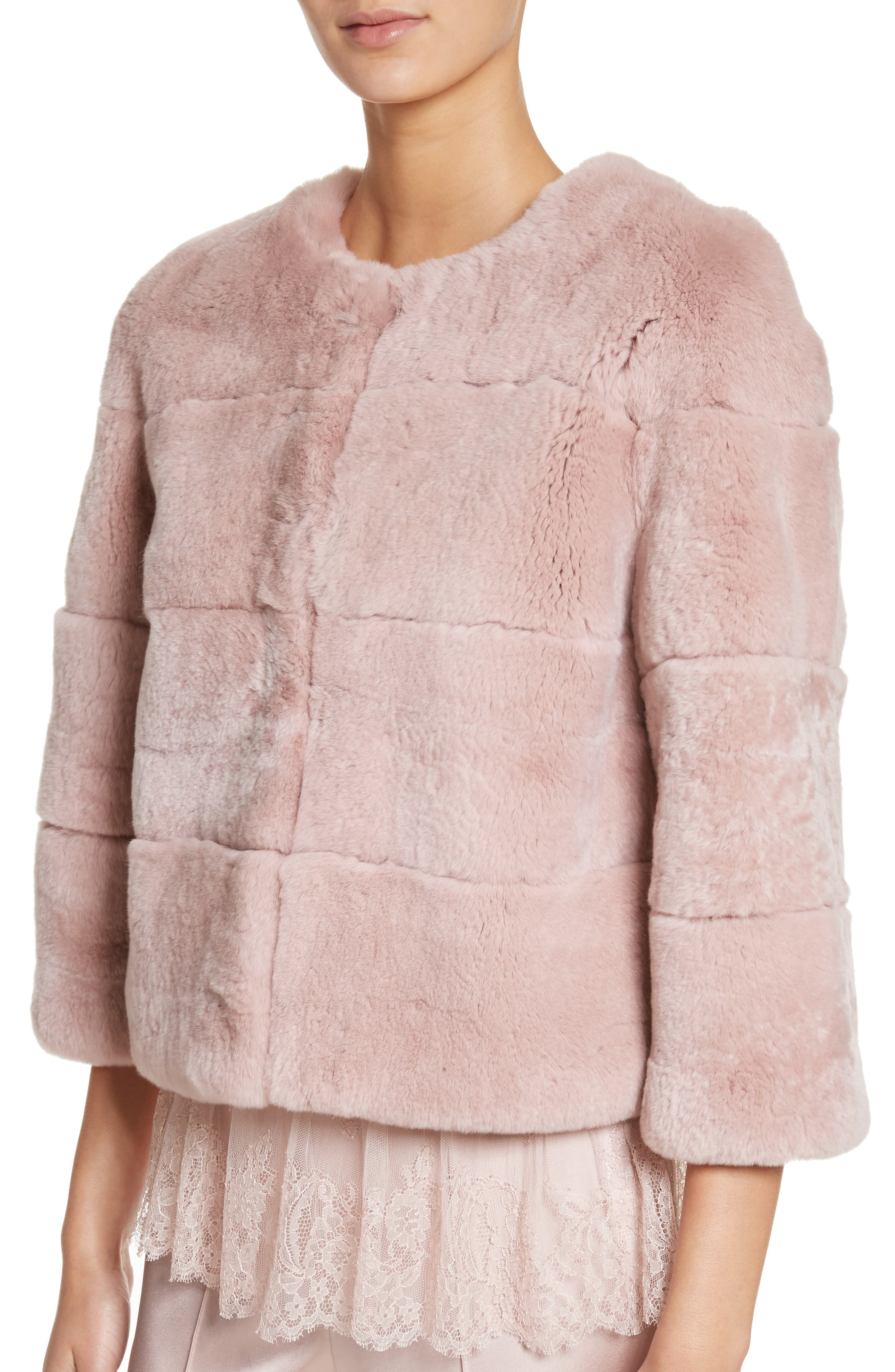 Genuine Rex Rabbit Fur Jacket,                             Alternate thumbnail 4, color,                             680