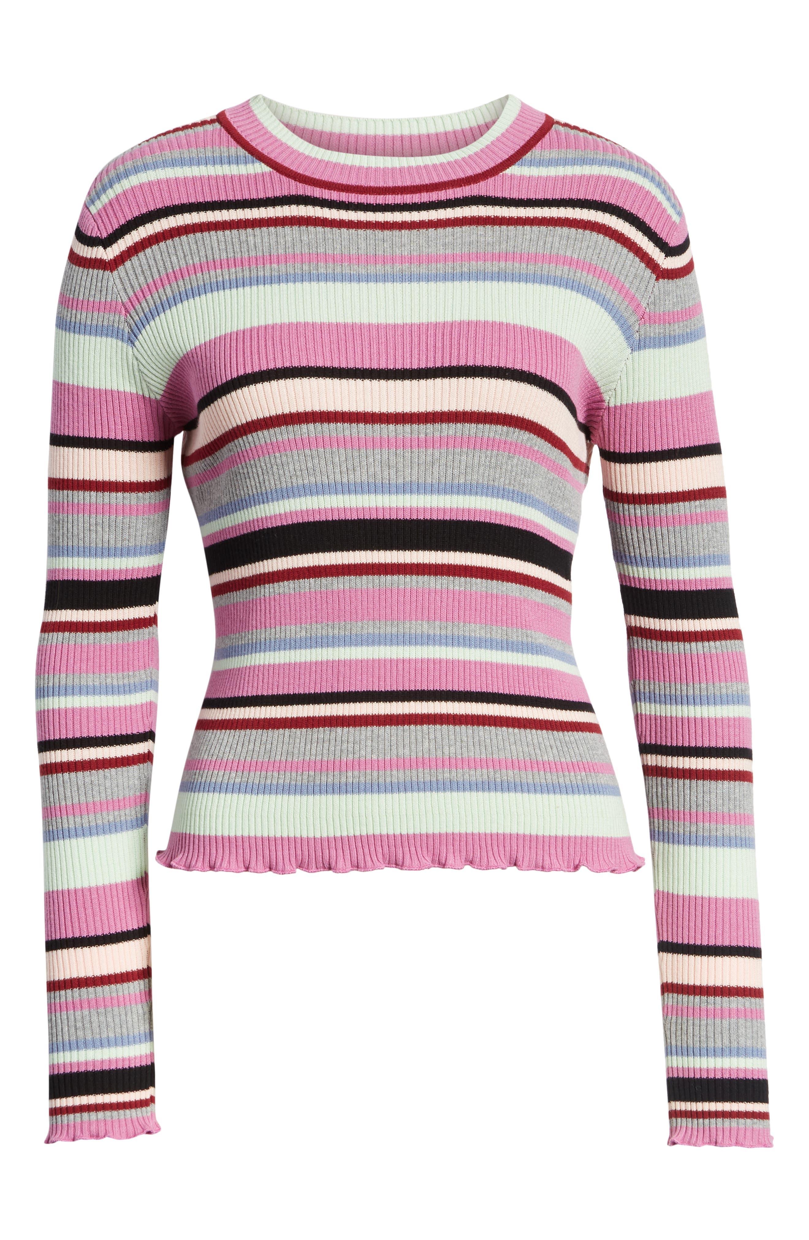 Ribbed Lettuce Edge Stripe Sweater,                             Alternate thumbnail 7, color,                             PURPLE TAFFY KARA MULTI STRIPE
