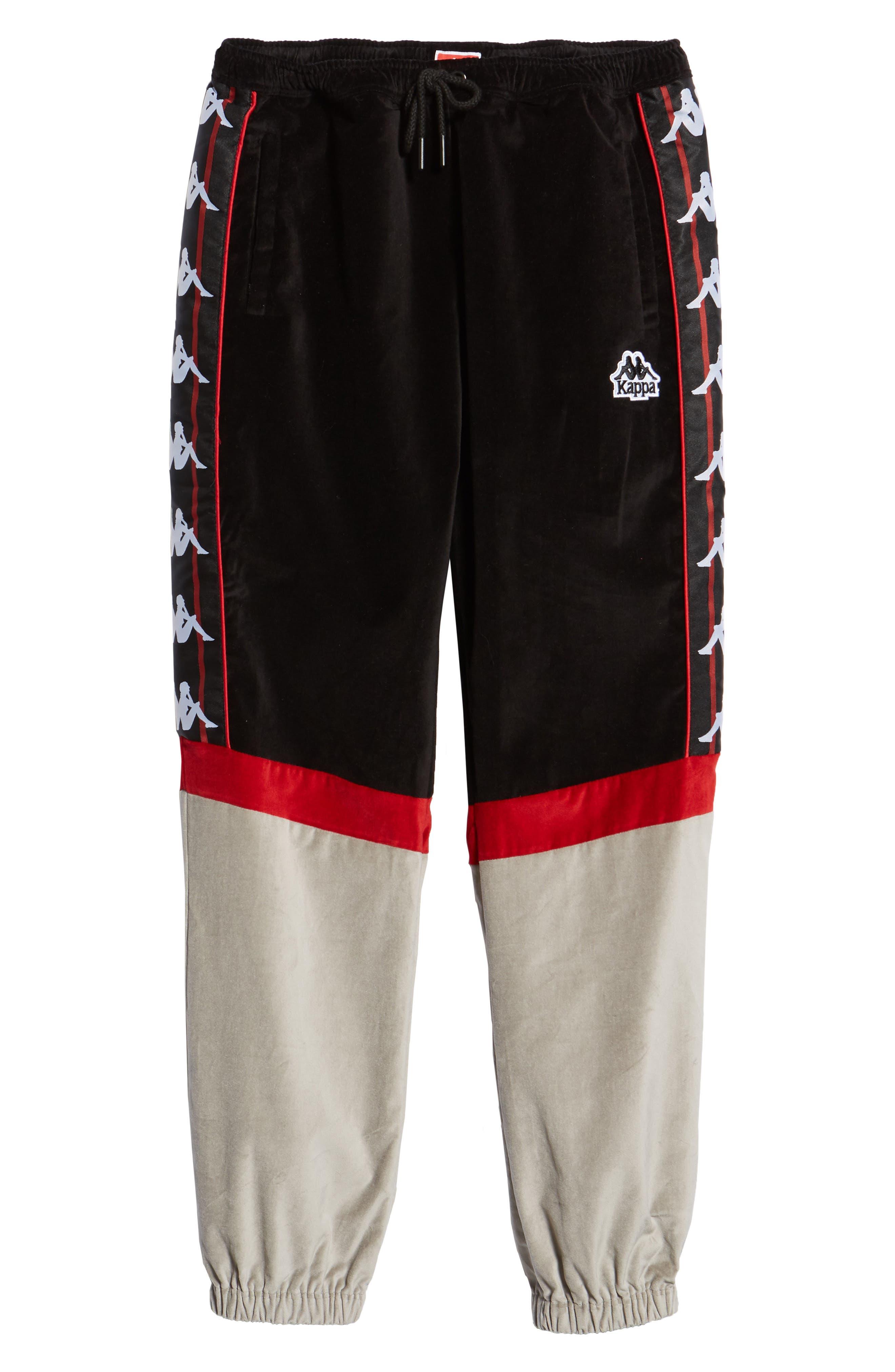 Authentic Serena Cotton Velour Track Pants,                             Alternate thumbnail 6, color,                             BLACK/ RED/ GREY
