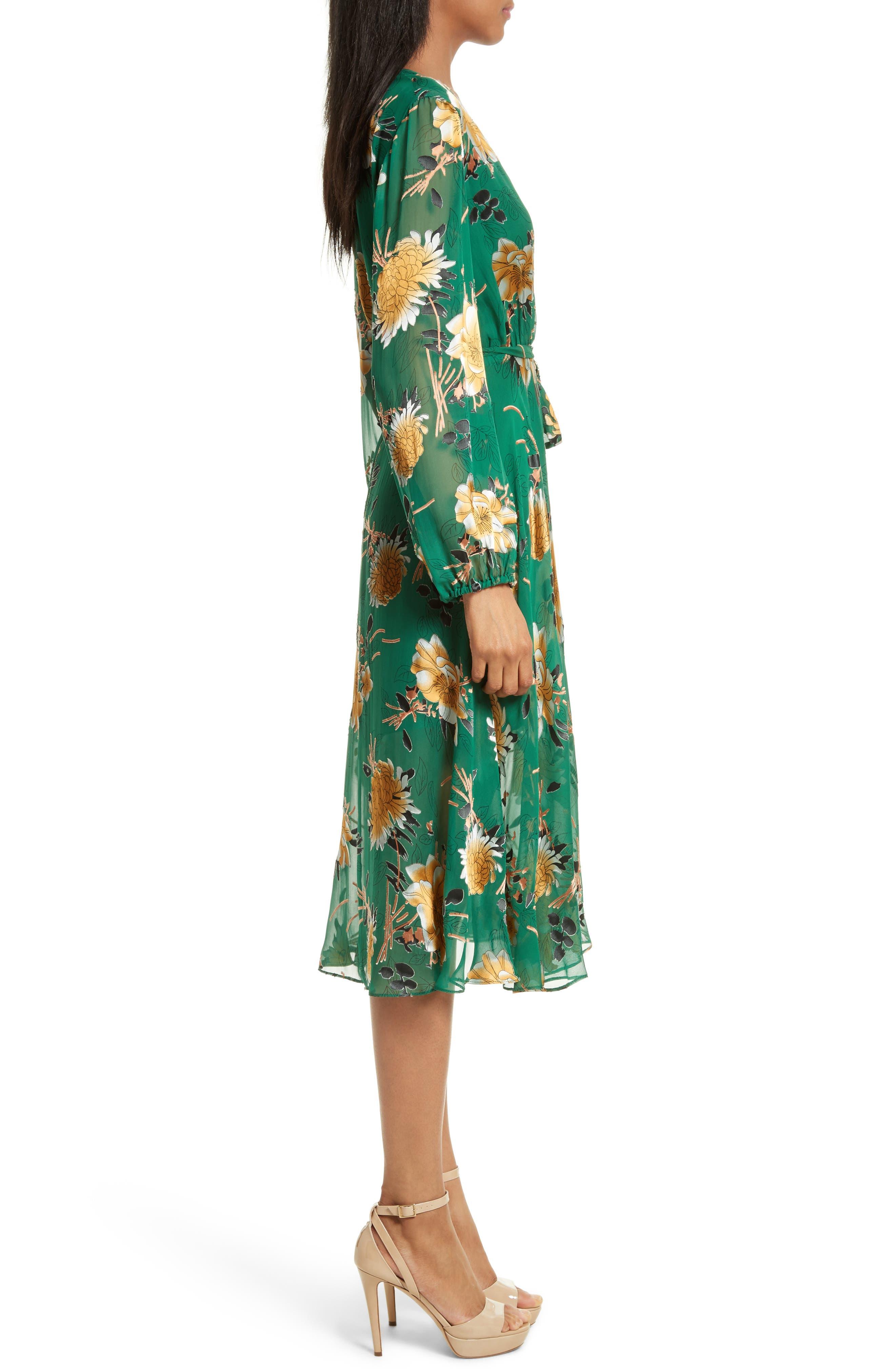 Coco Floral Print A-Line Dress,                             Alternate thumbnail 3, color,                             308