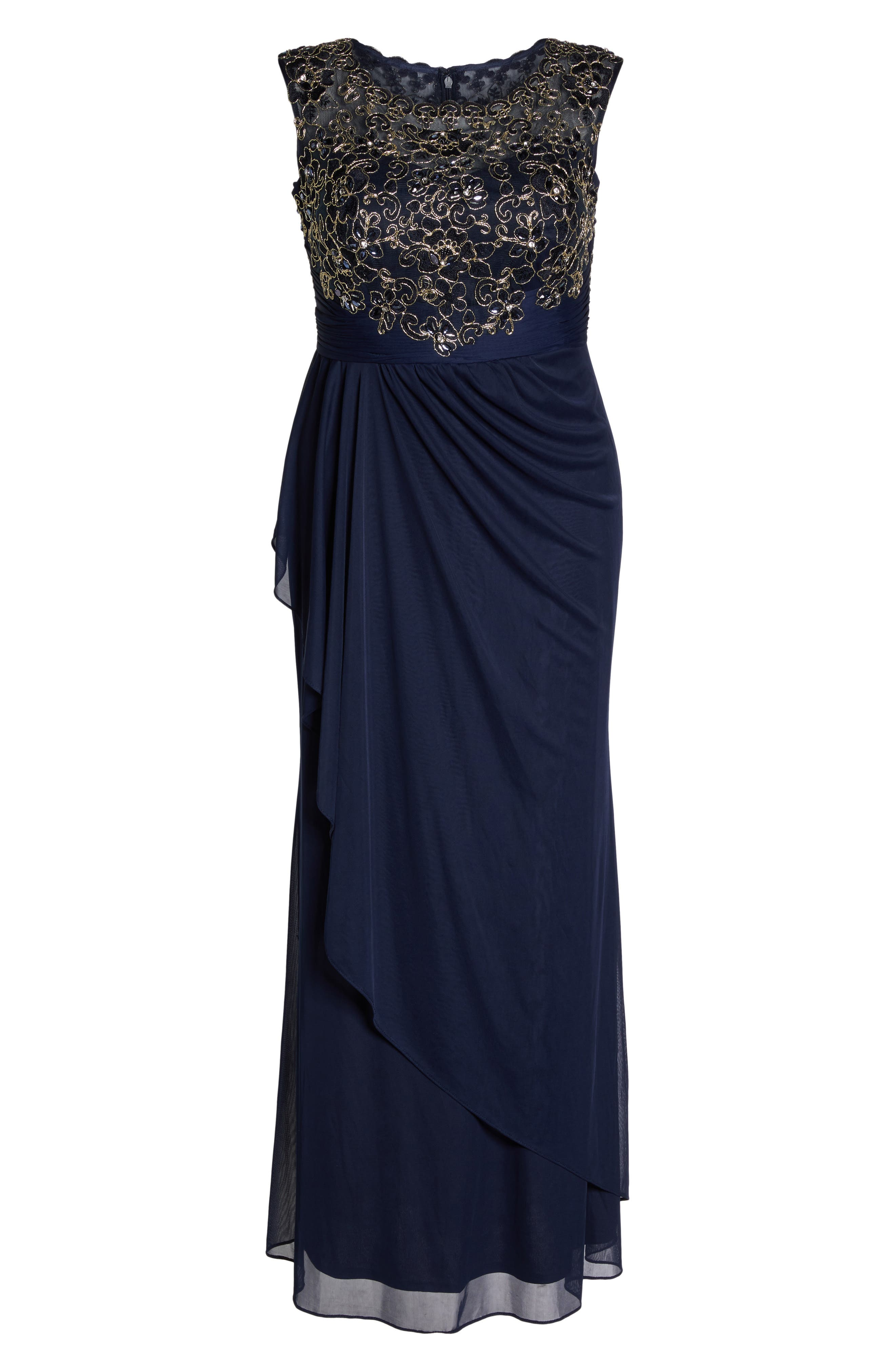 Embroidered Cap Sleeve Gown,                             Alternate thumbnail 6, color,                             411
