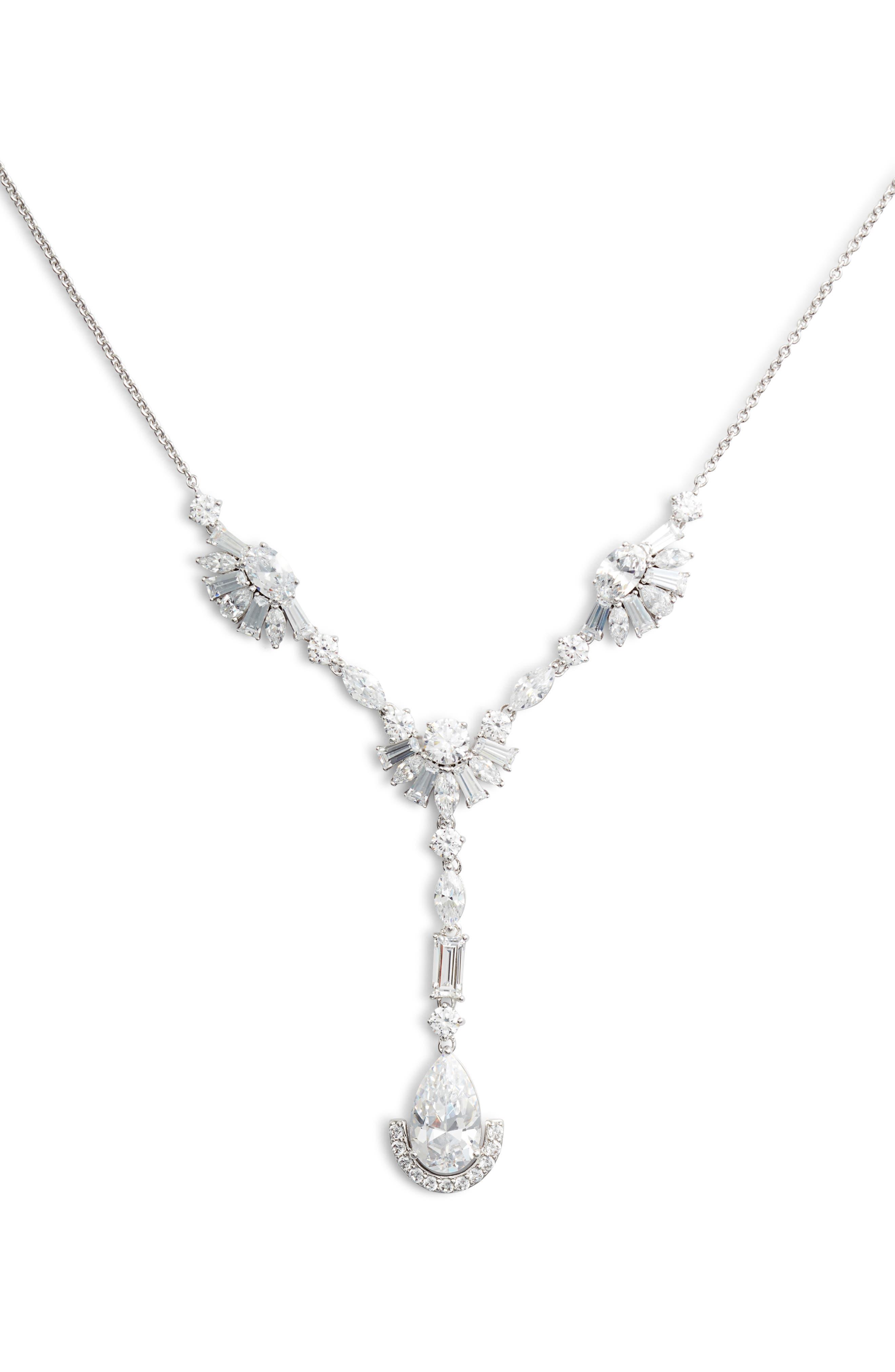 Fanfare Y-Shape Necklace,                         Main,                         color, SILVER