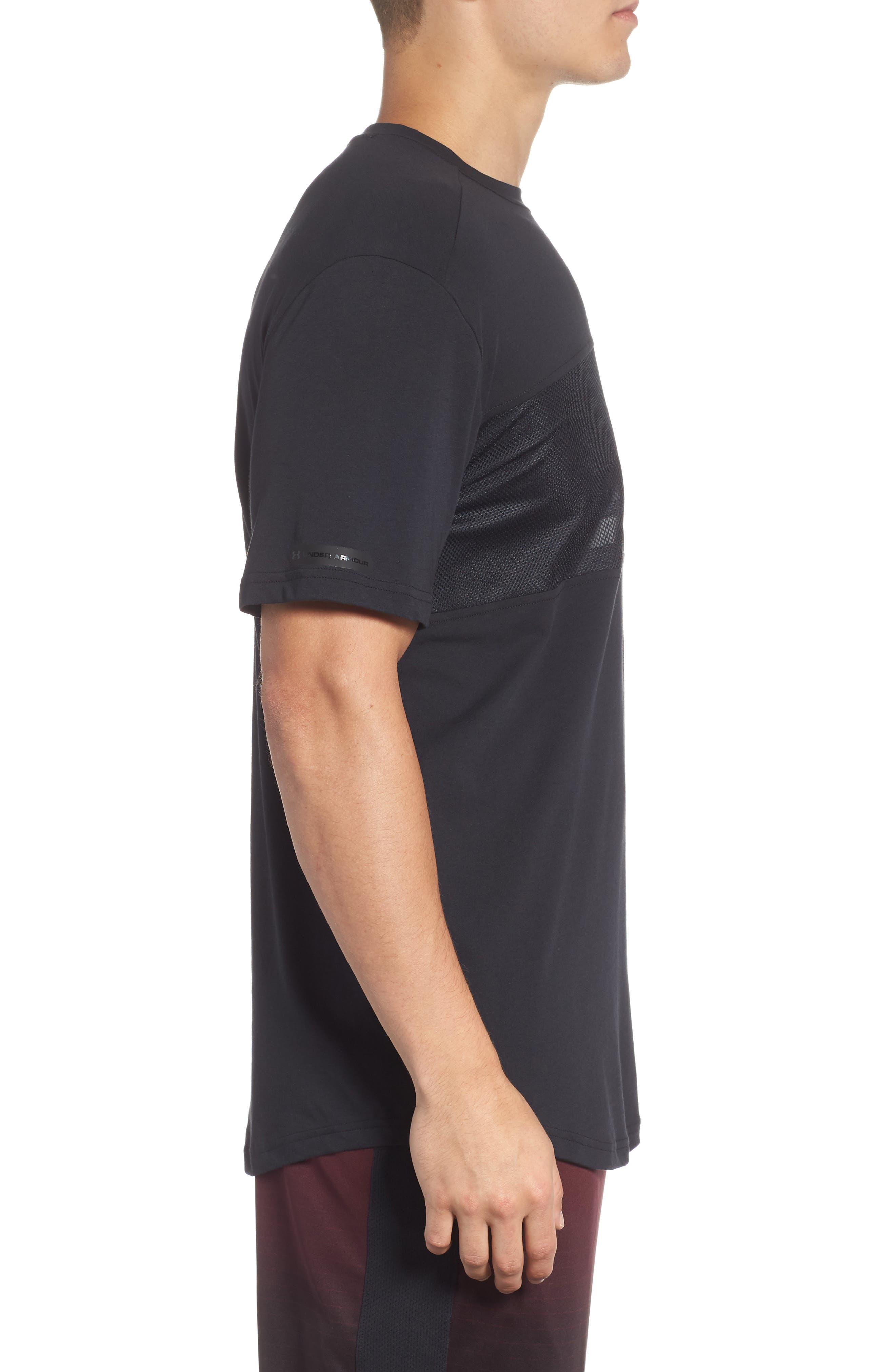 Mesh Panel T-Shirt,                             Alternate thumbnail 3, color,                             BLACK