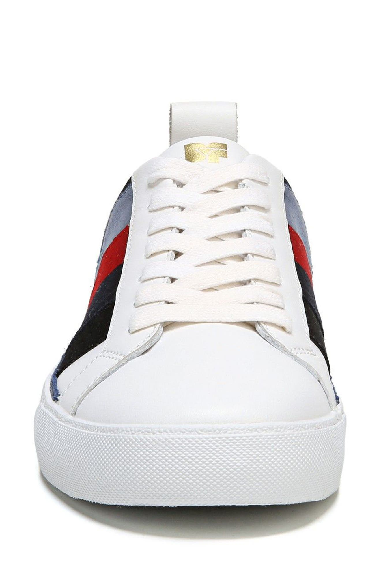 Tess Lace-Up Sneaker,                             Alternate thumbnail 4, color,                             WHITE/ LIPSTICK