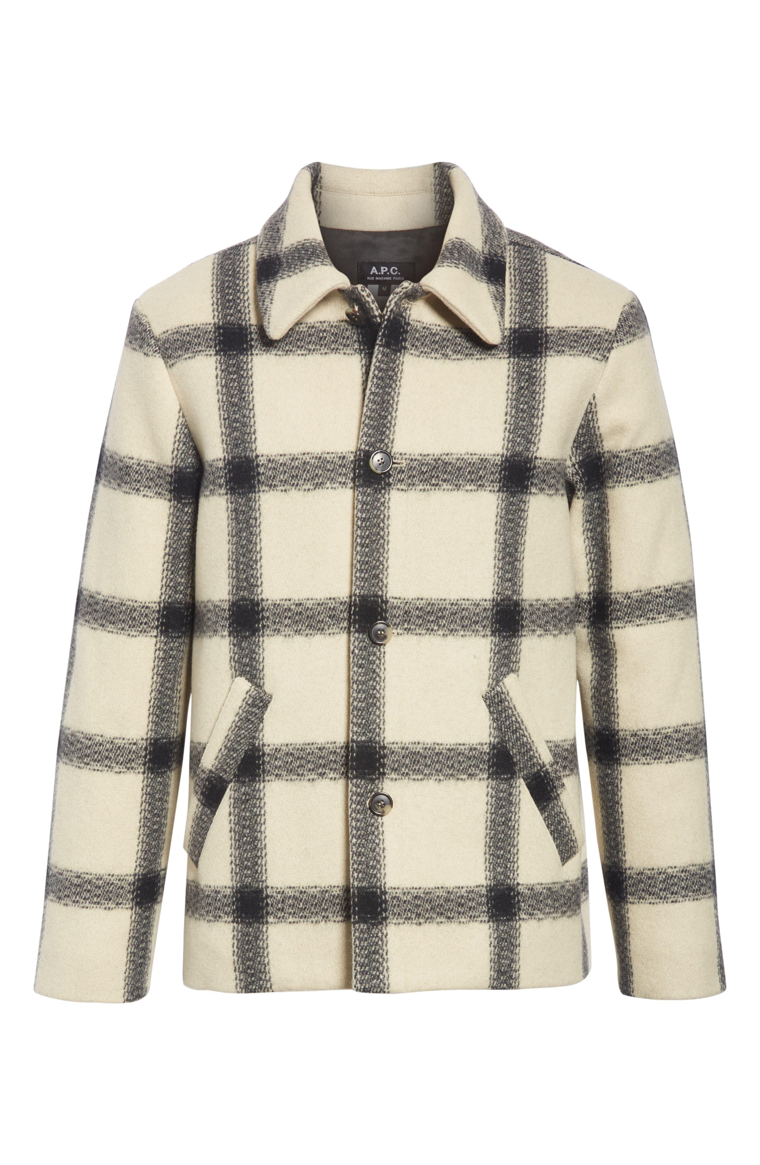 A.P.C.,                             Veste Vancouver Wool Flannel Jacket,                             Alternate thumbnail 5, color,                             ECRU AAD